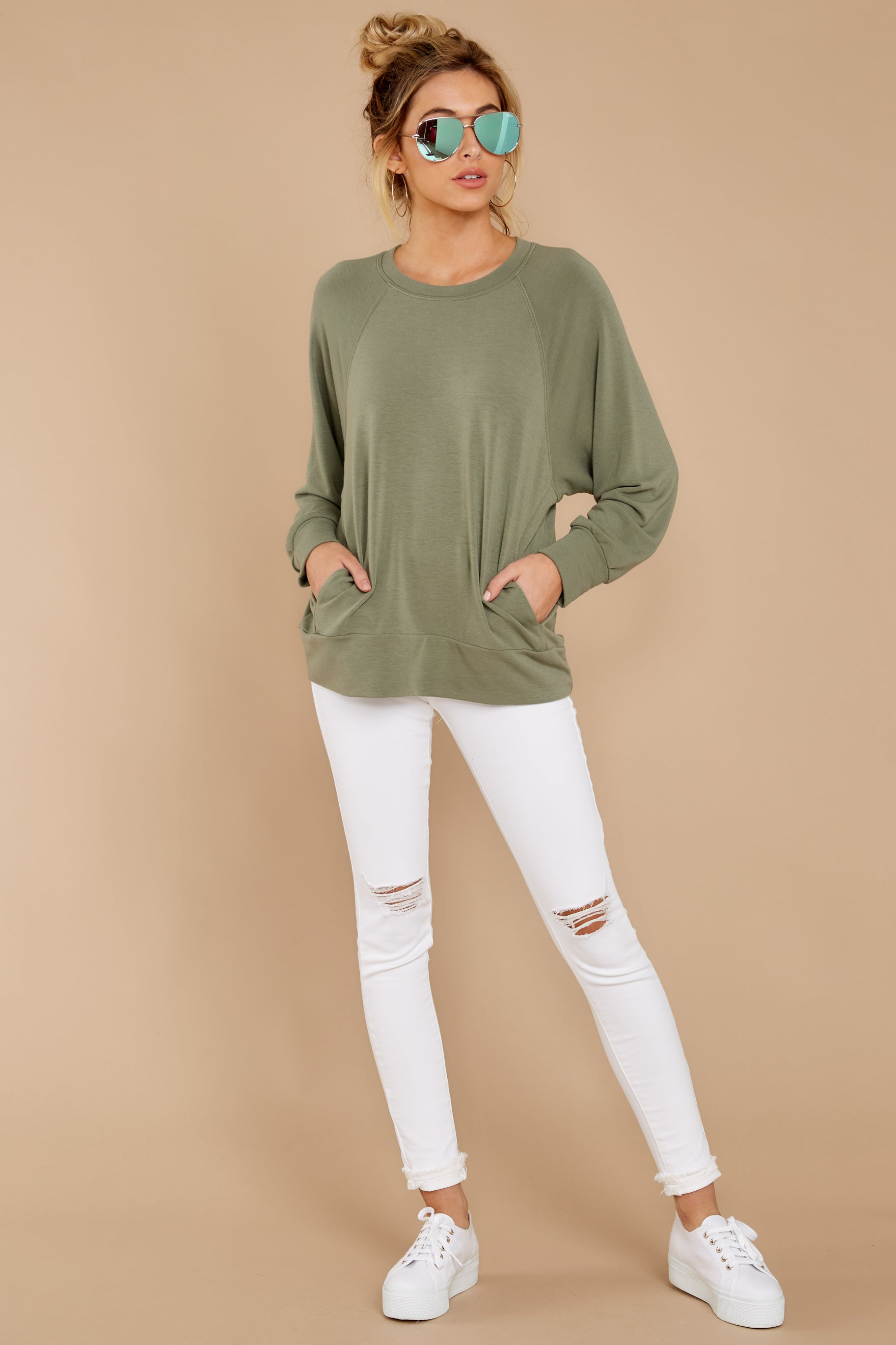 2 Take A Break Sage Green Sweater at reddressboutique.com