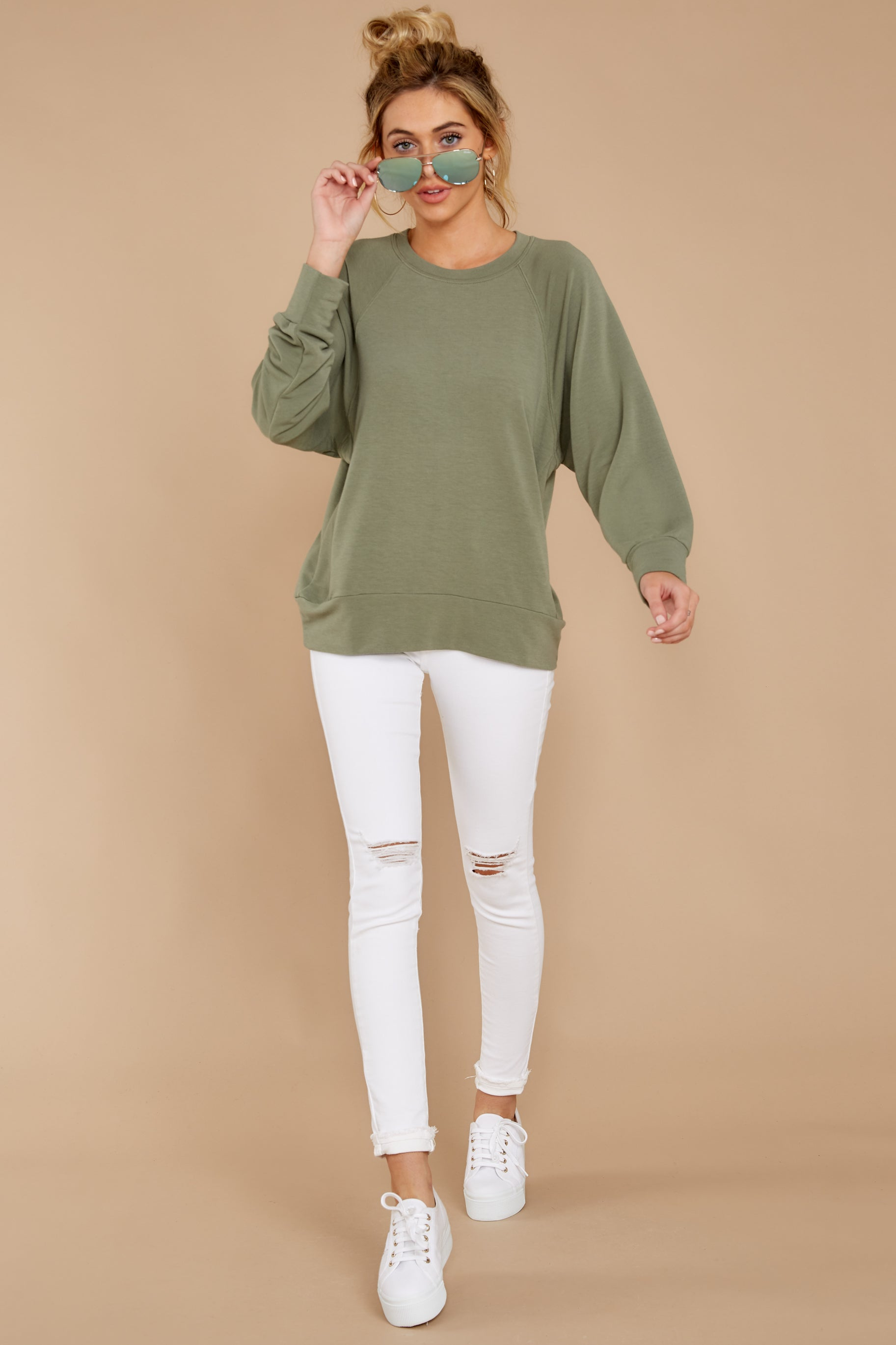 3 Take A Break Sage Green Sweater at reddressboutique.com