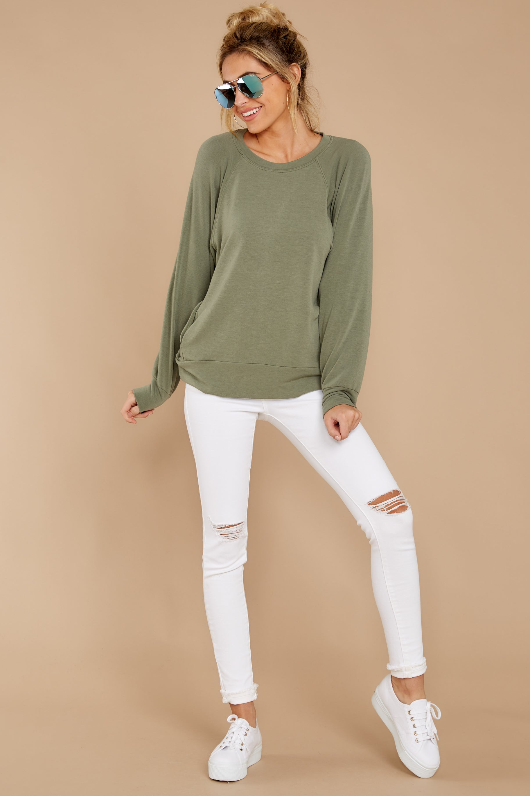4 Take A Break Sage Green Sweater at reddressboutique.com