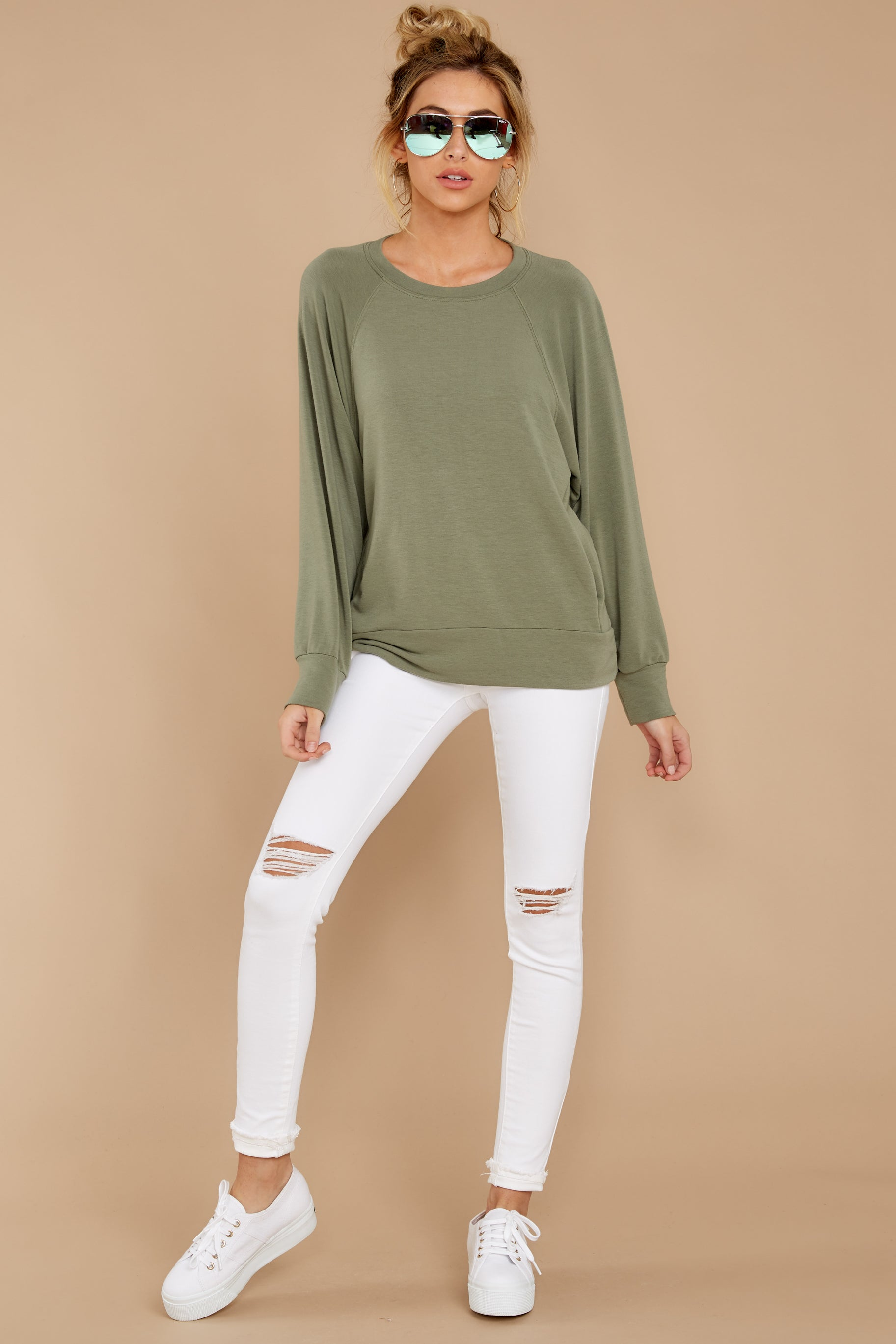 1 Take A Break Sage Green Sweater at reddressboutique.com
