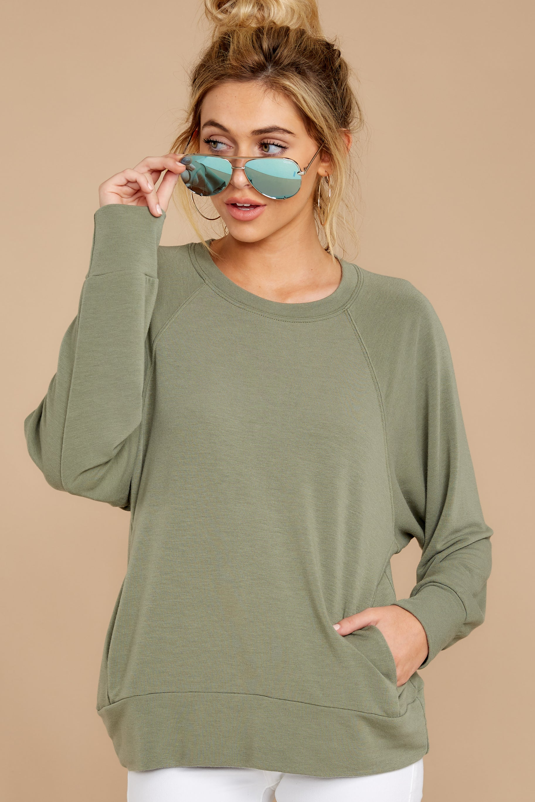 5 Take A Break Sage Green Sweater at reddressboutique.com