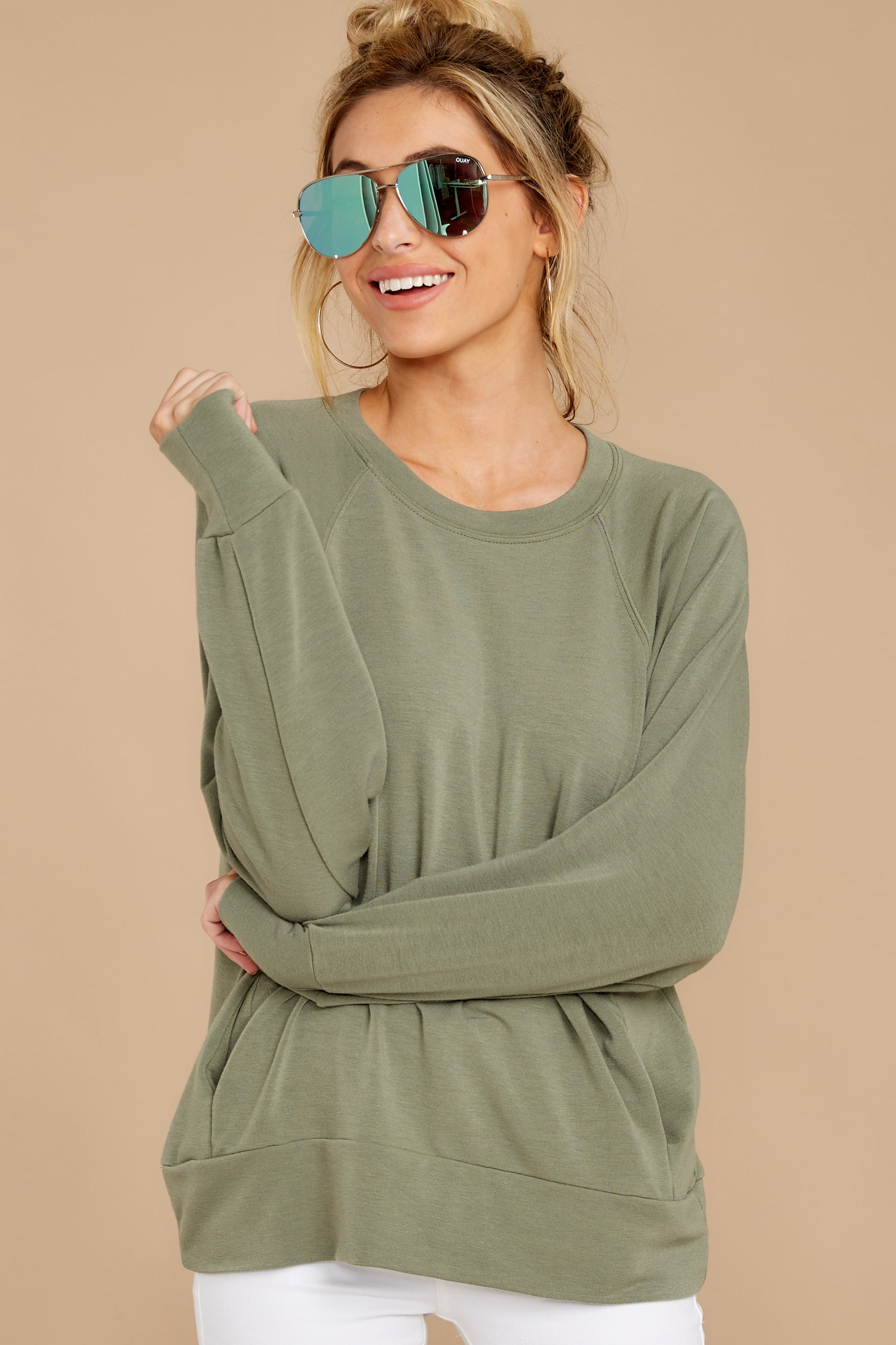 6 Take A Break Sage Green Sweater at reddressboutique.com