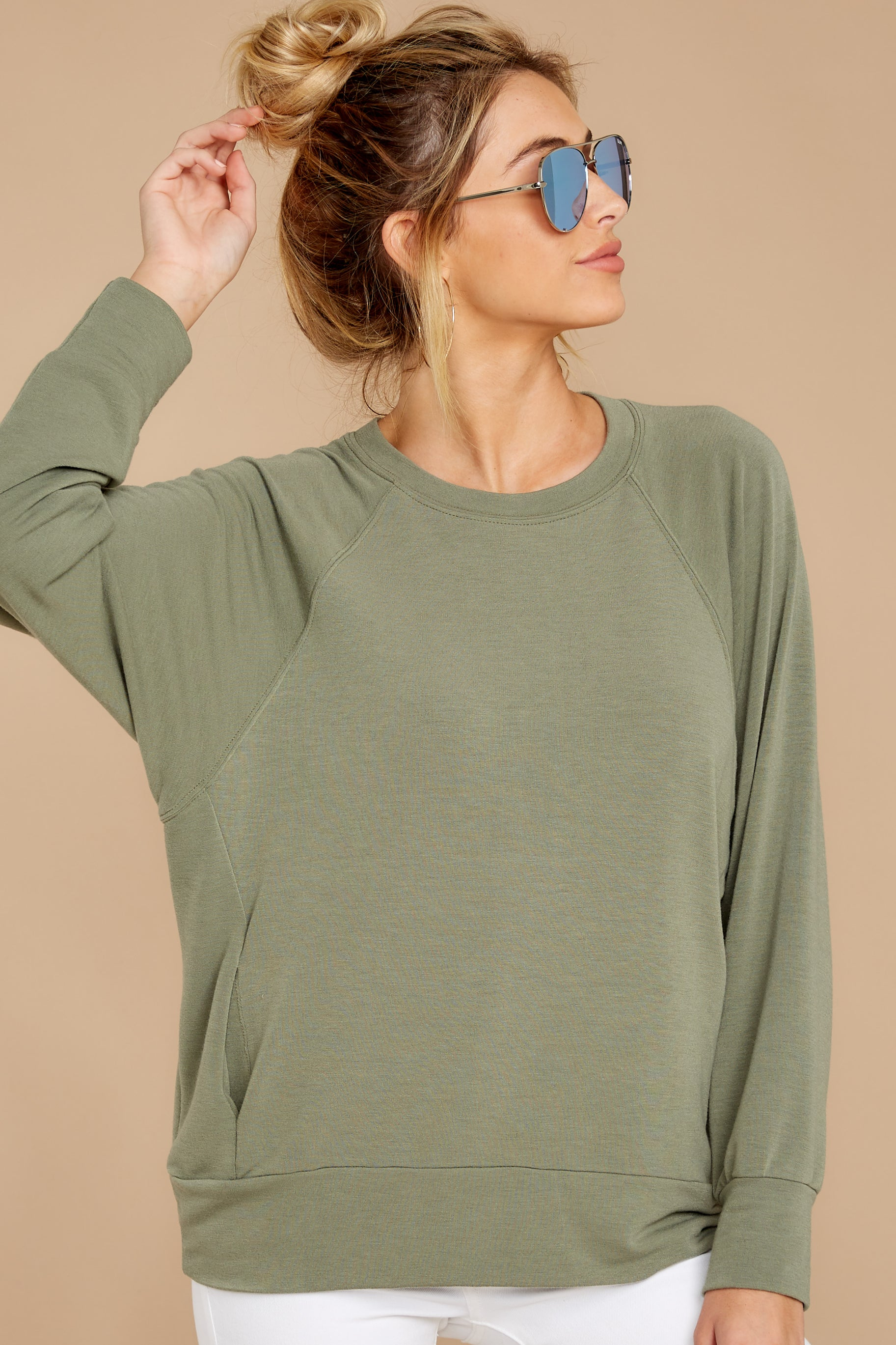 7 Take A Break Sage Green Sweater at reddressboutique.com