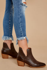 1 All In Favor Dark Brown Ankle Booties at reddressboutique.com