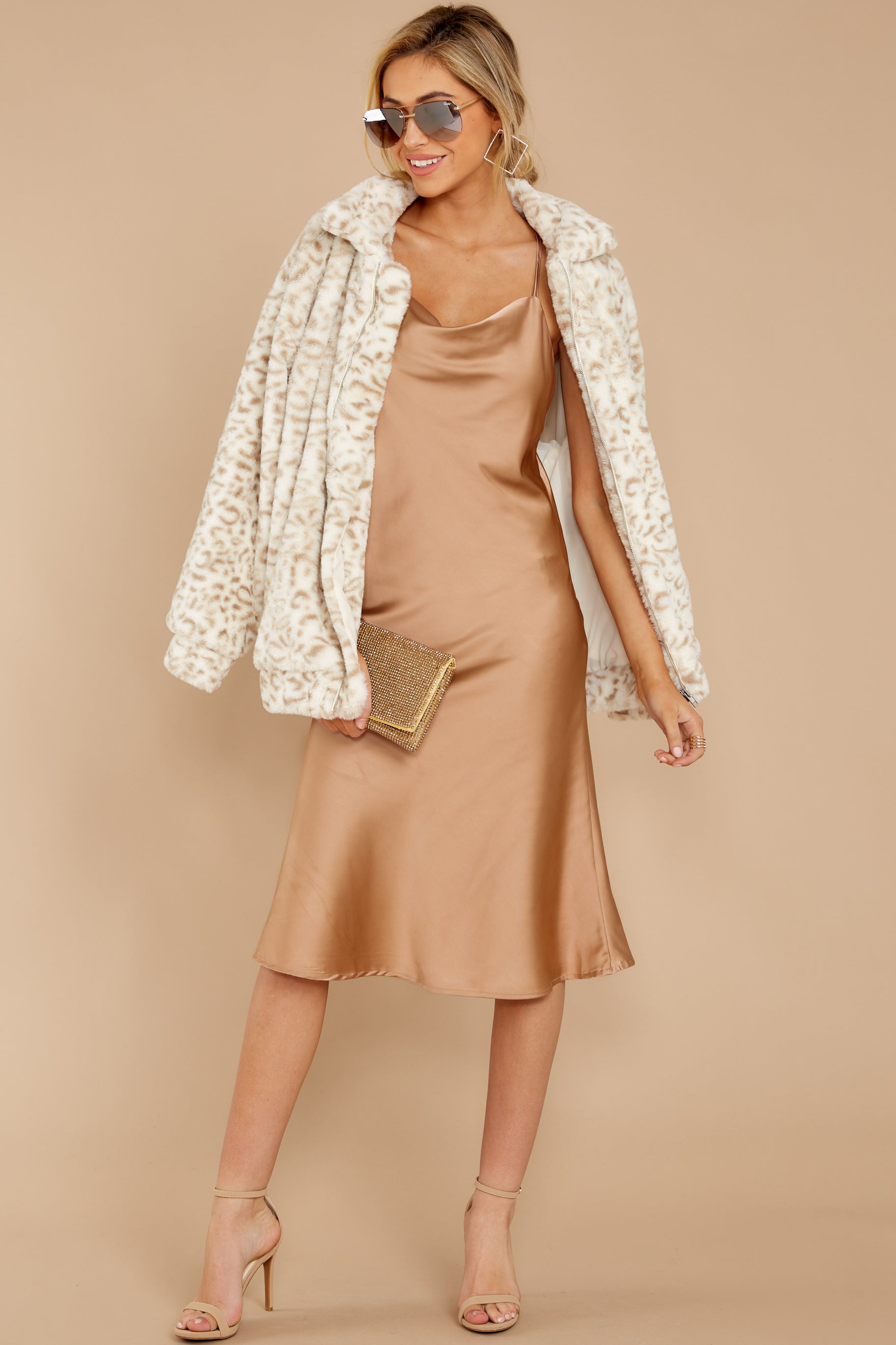 6 Smooth Talker Champagne Midi Dress at reddress.com