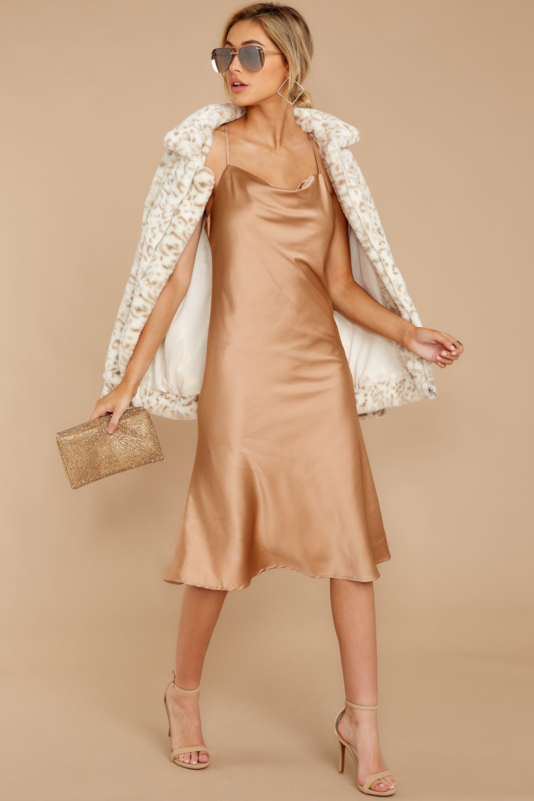 7 Smooth Talker Champagne Midi Dress at reddress.com