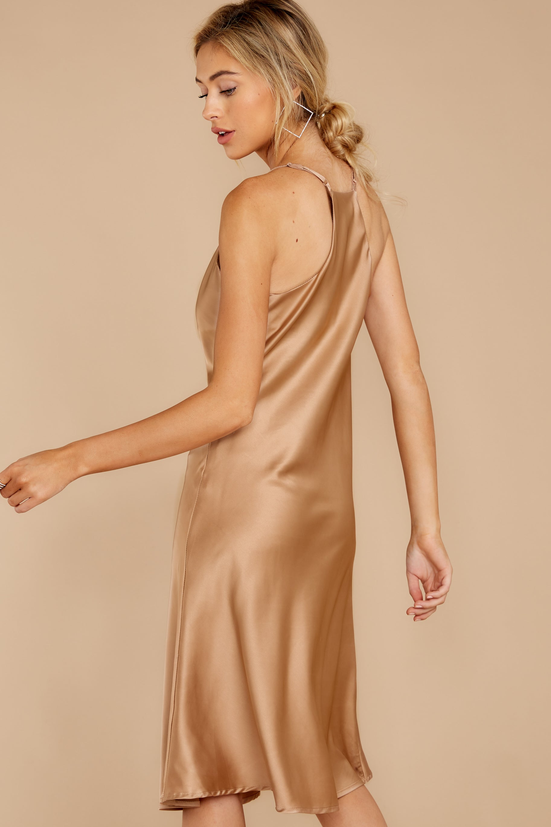 4 Smooth Talker Champagne Midi Dress at reddressboutique.com