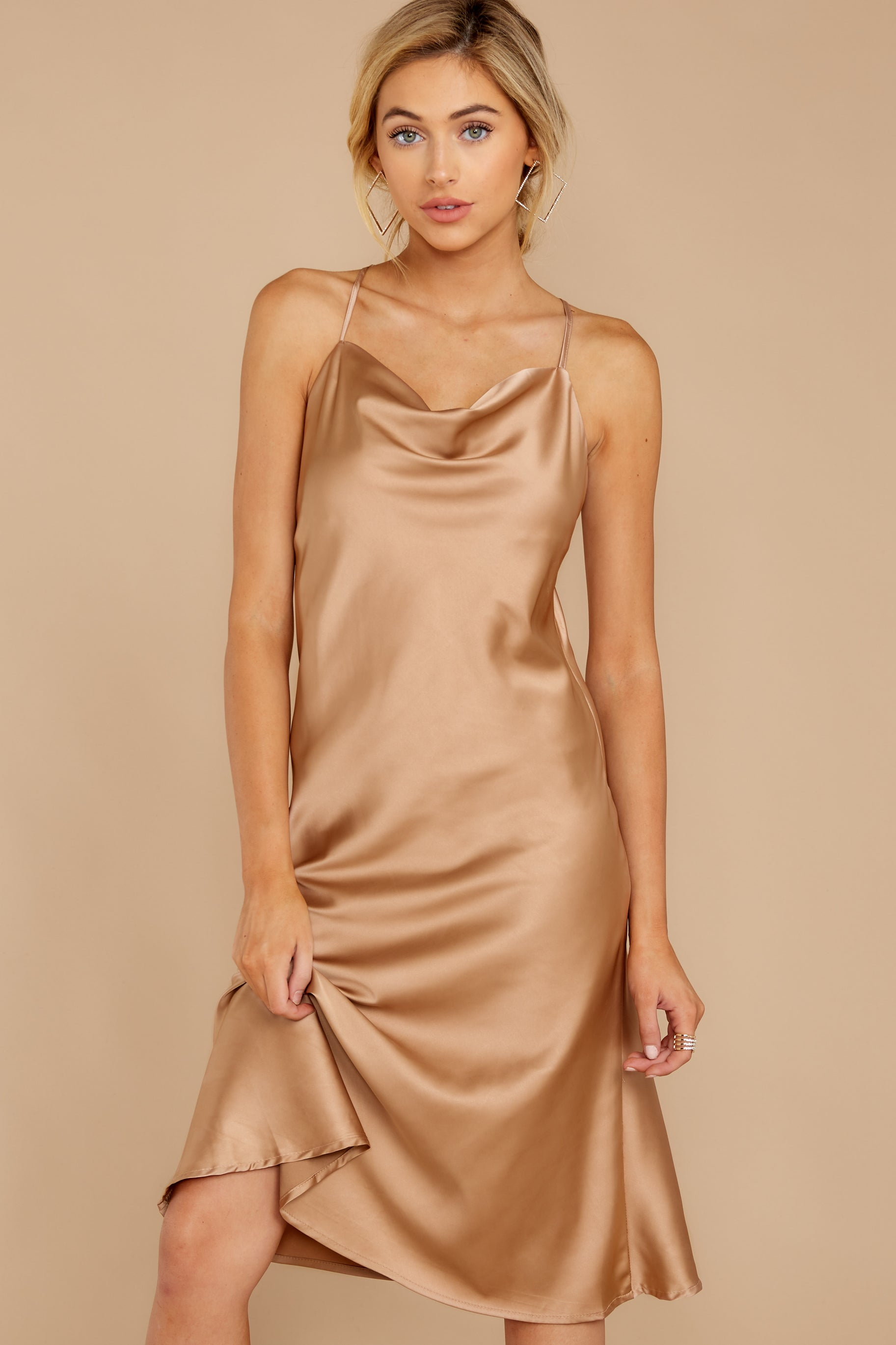 3 Smooth Talker Champagne Midi Dress at reddressboutique.com