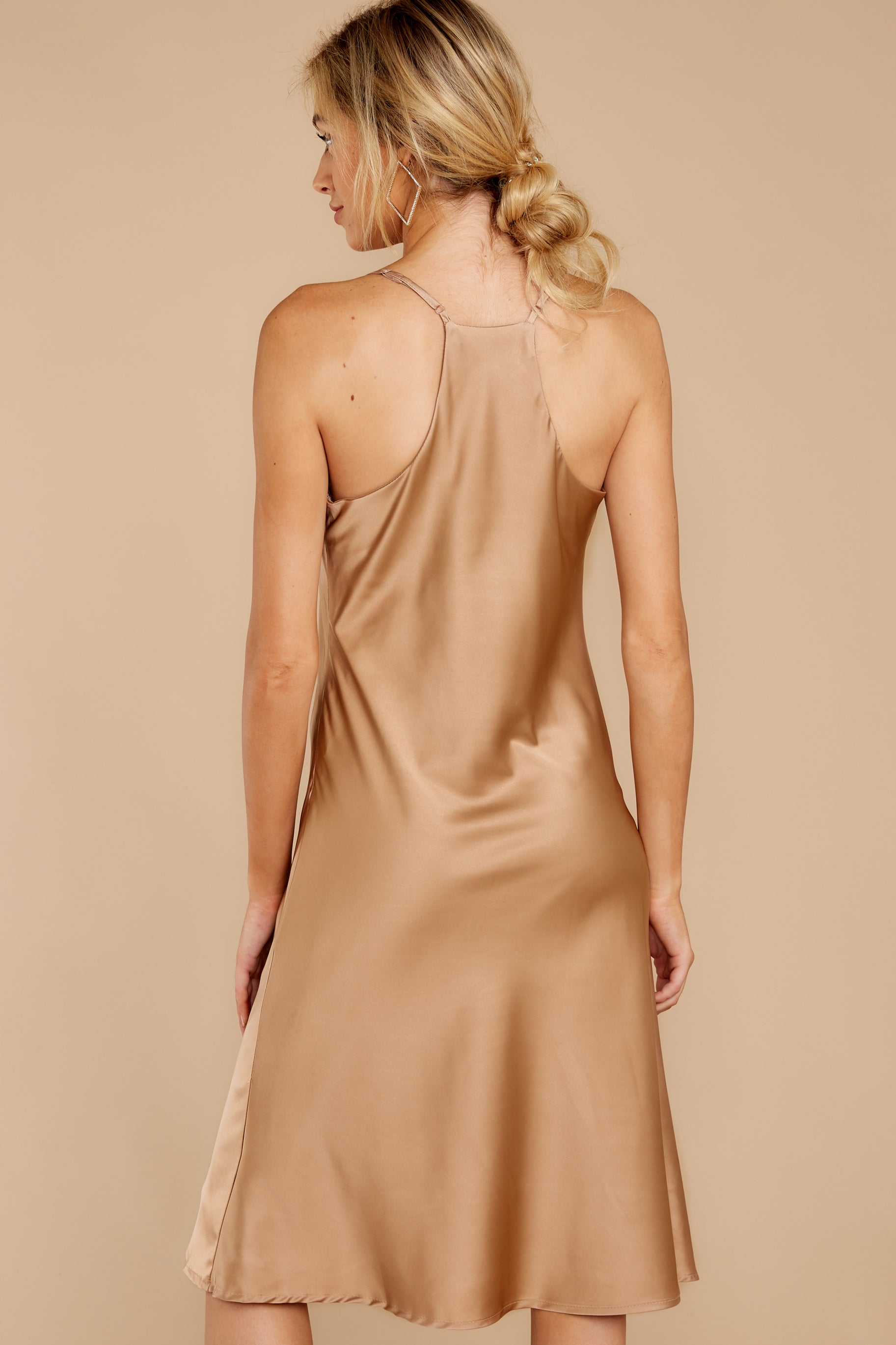 5 Smooth Talker Champagne Midi Dress at reddressboutique.com