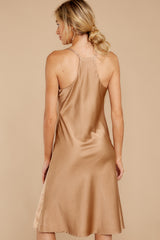 5 Smooth Talker Champagne Midi Dress at reddress.com