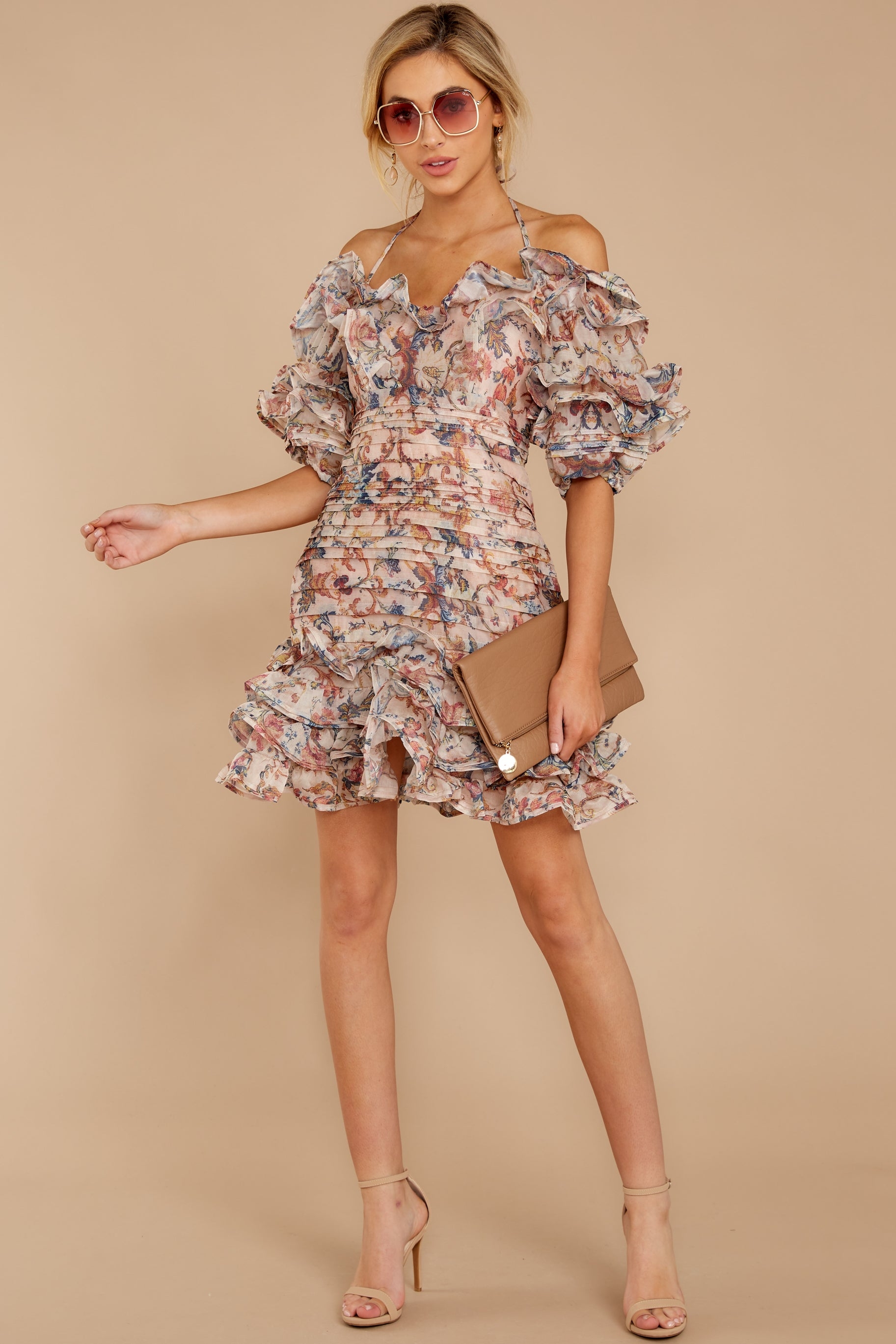 1 Attention Grabber Pink Floral Print Dress at reddressboutique.com