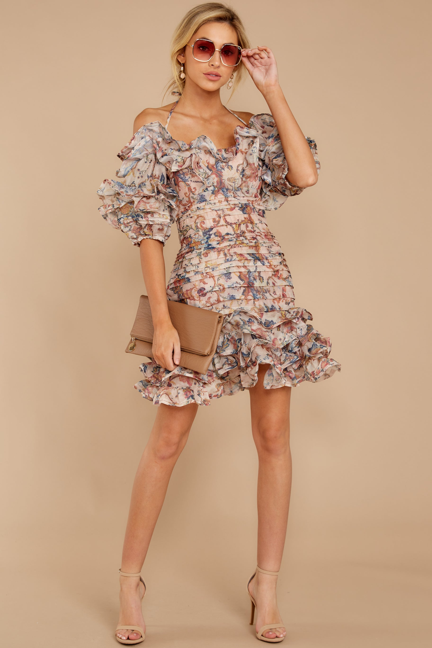 3 Attention Grabber Pink Floral Print Dress at reddressboutique.com