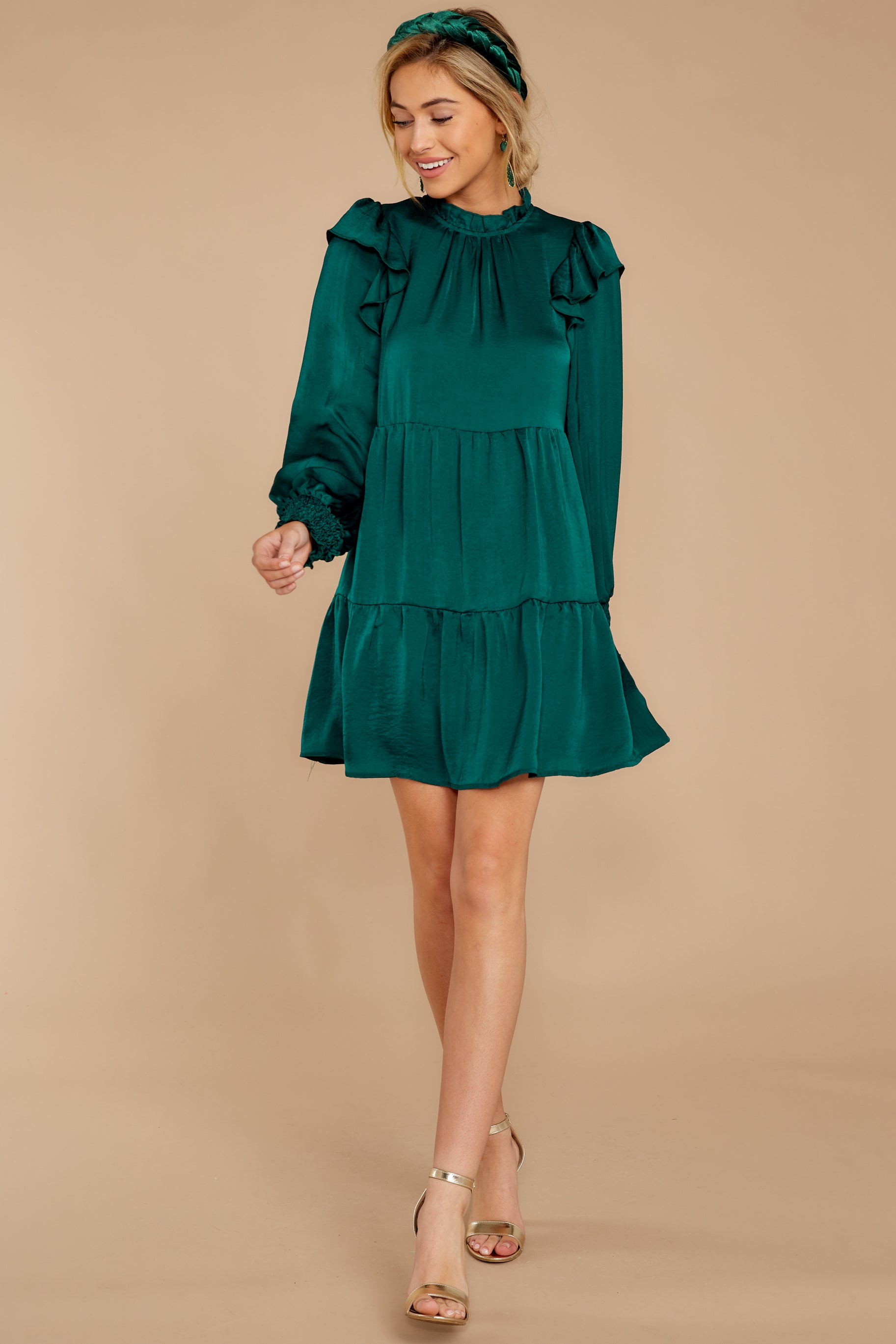 2 On My Level Emerald Green Dress at reddressboutique.com
