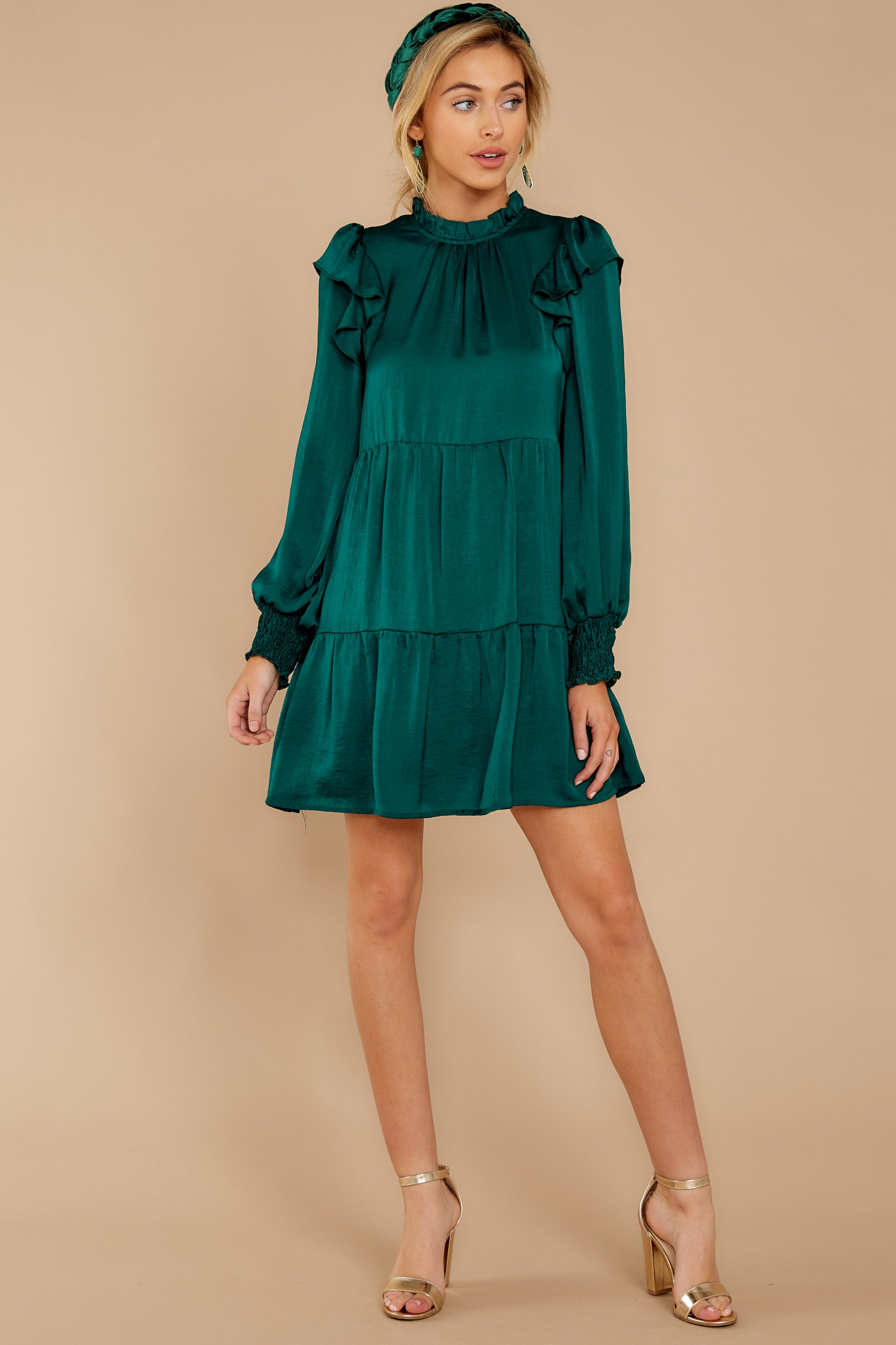 3 On My Level Emerald Green Dress at reddressboutique.com