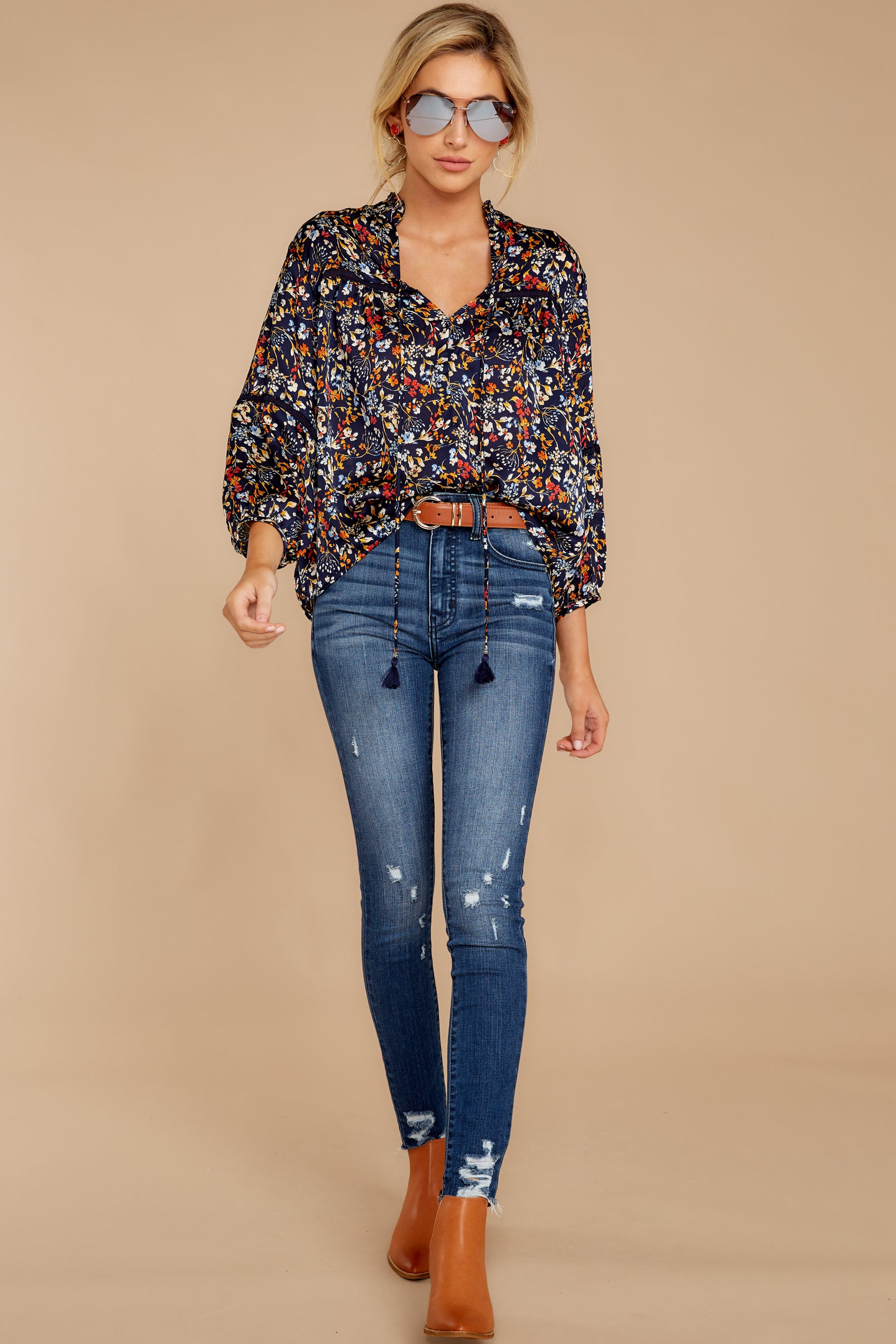Prairie Flowers Navy Floral Print Top