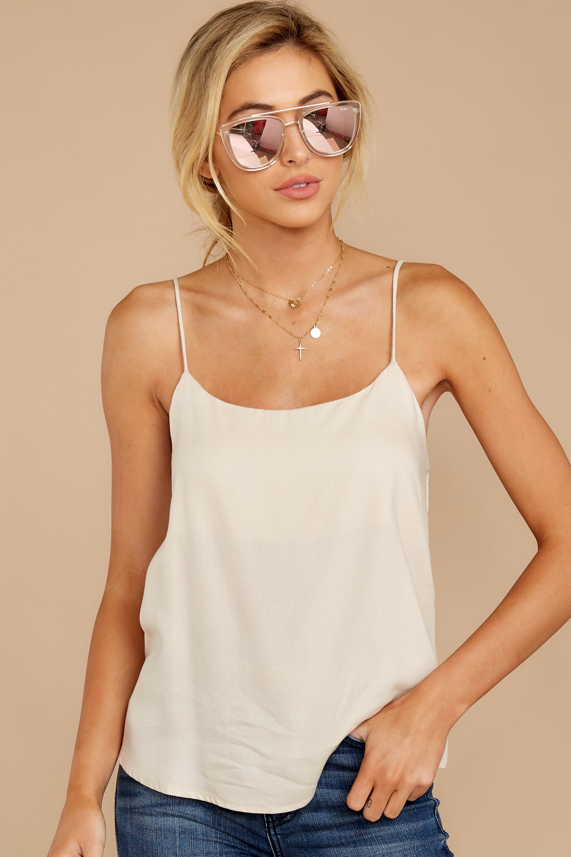 7 Closer Still Cream Tank Top at reddressboutique.com