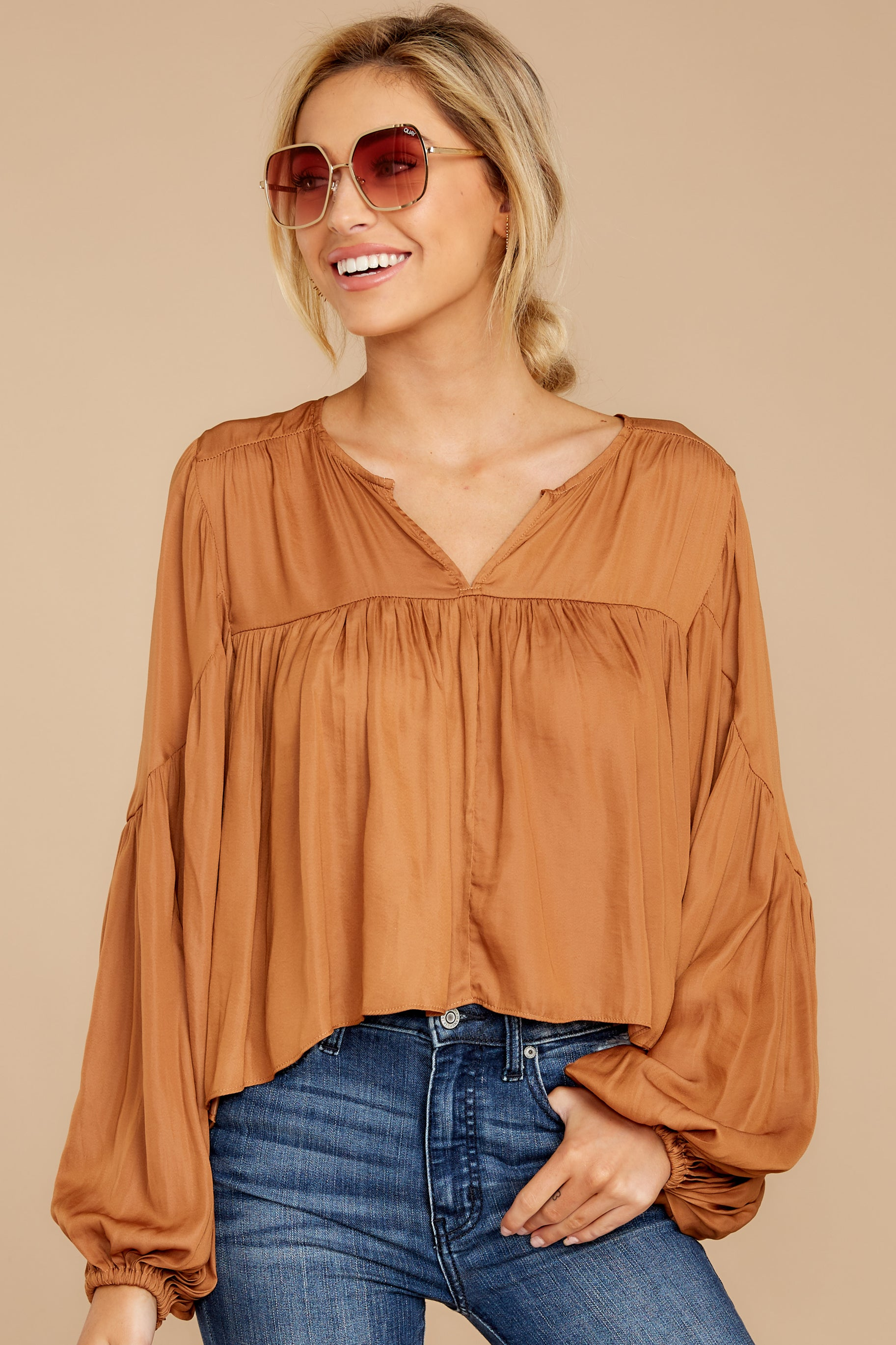 7 A Different Day Caramel Top at reddress.com