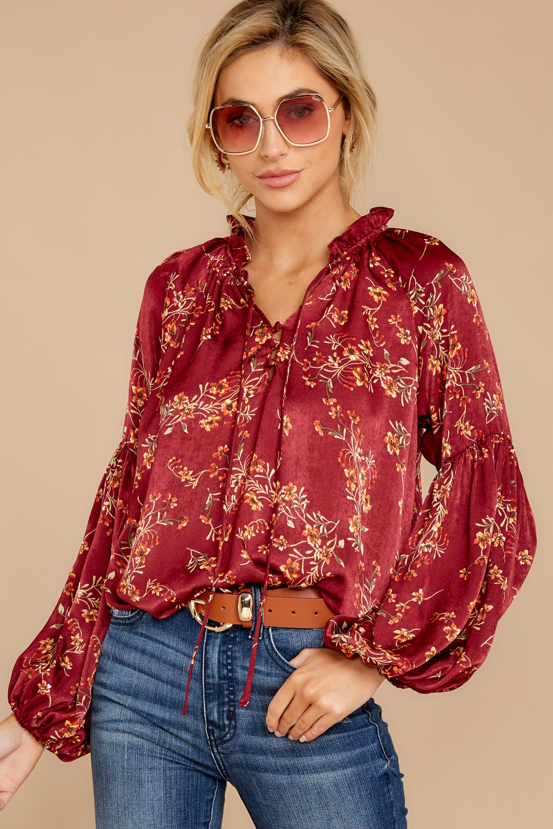 2 Wake Up The Wonder Burgundy Floral Print Top at reddress.com