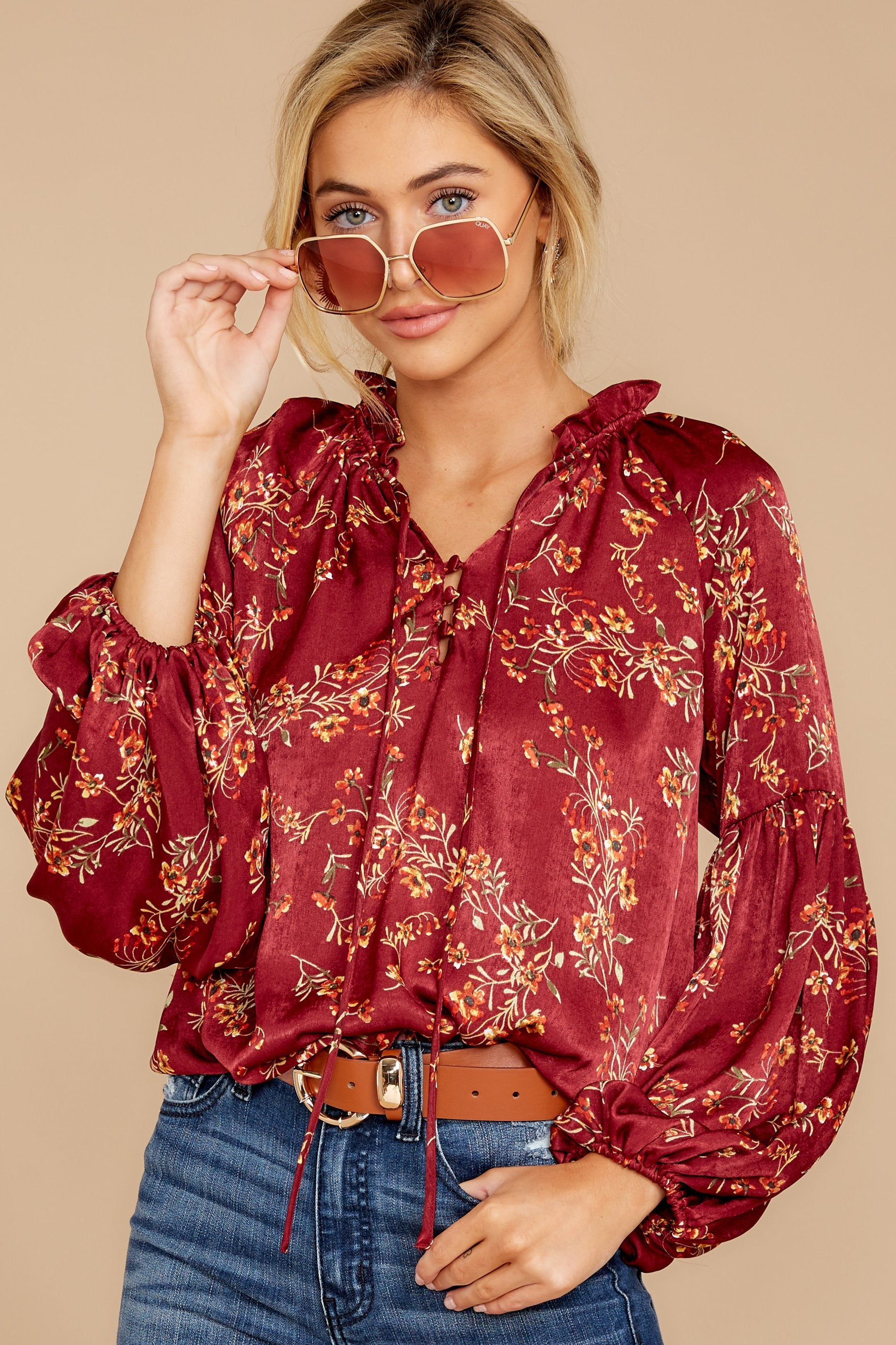 1 Wake Up The Wonder Burgundy Floral Print Top at reddress.com