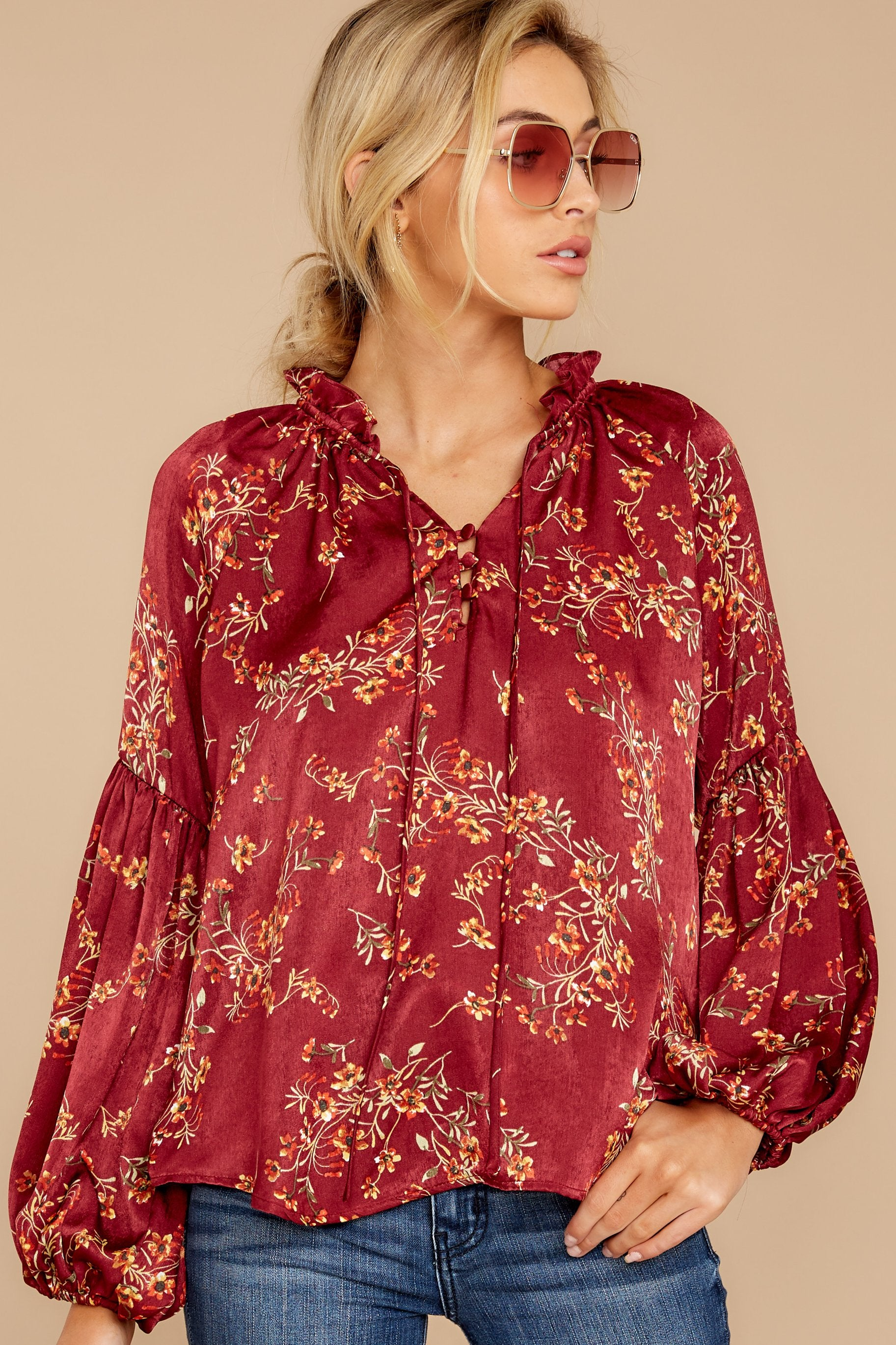 3 Wake Up The Wonder Burgundy Floral Print Top at reddress.com