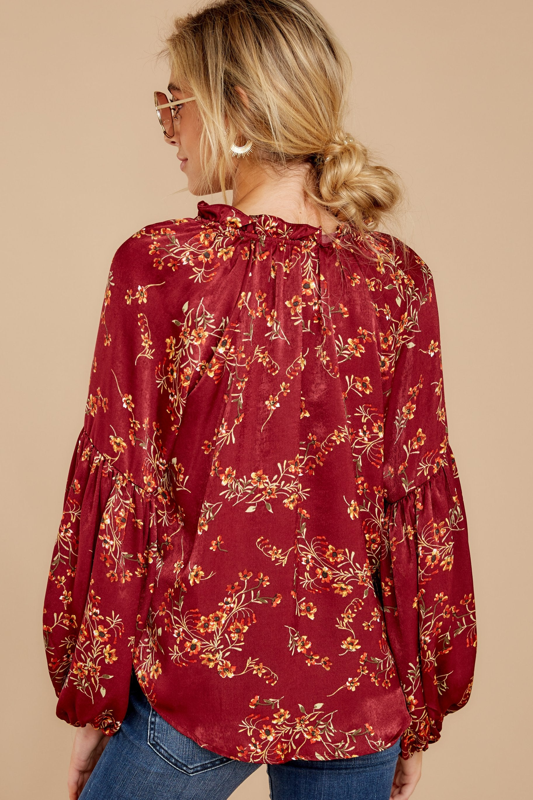4 Wake Up The Wonder Burgundy Floral Print Top at reddress.com