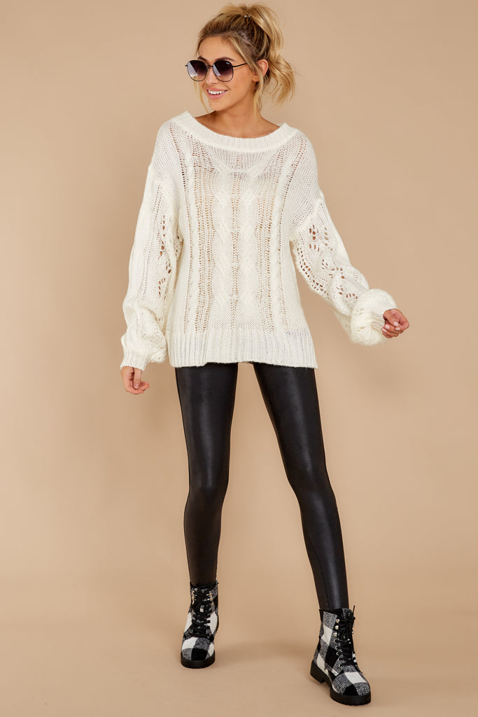 Forever And A Day White Cowl Neck Sweater at reddressboutique.com