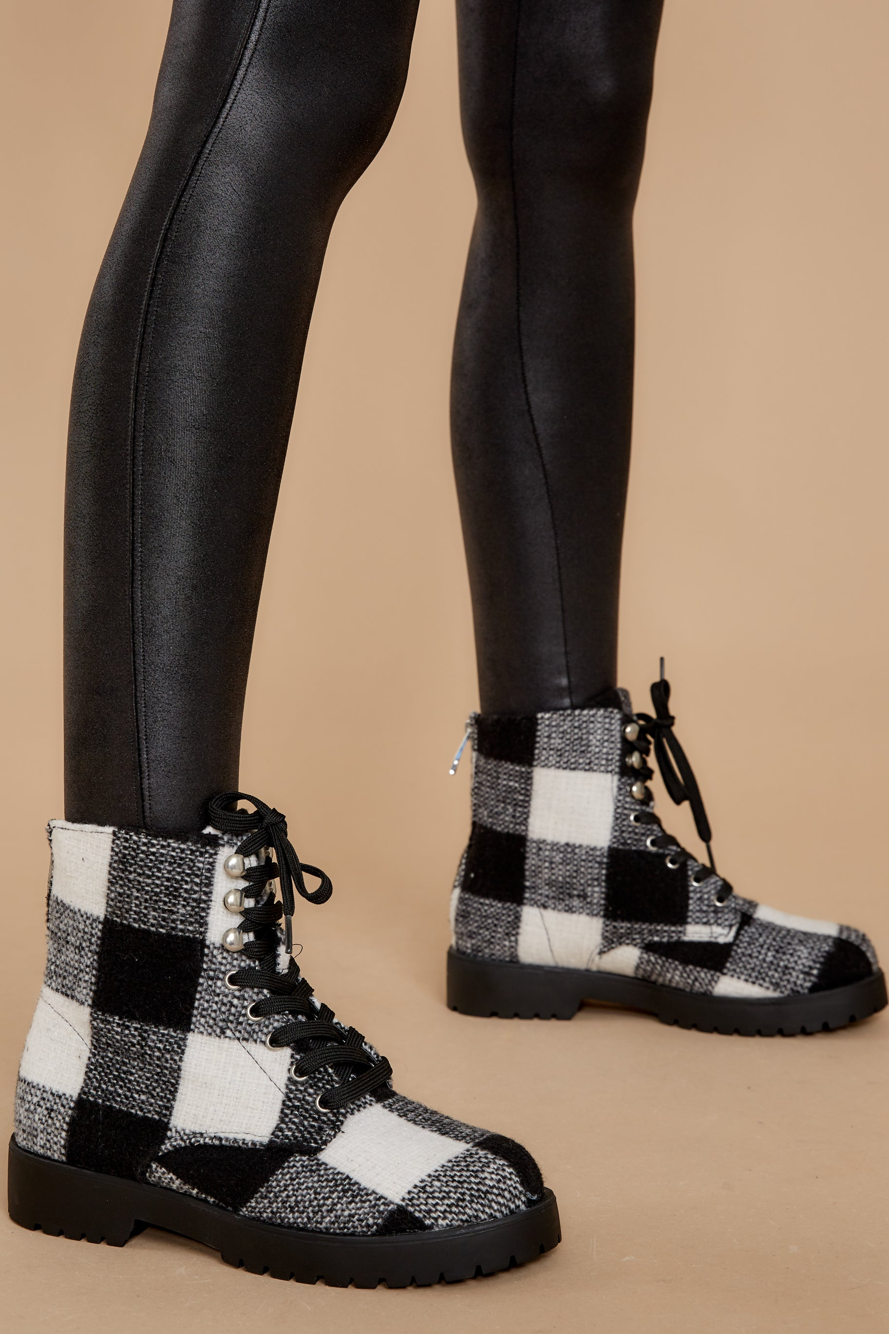 1 Everything My Way Black Buffalo Plaid Lace Up Boots at reddress.com