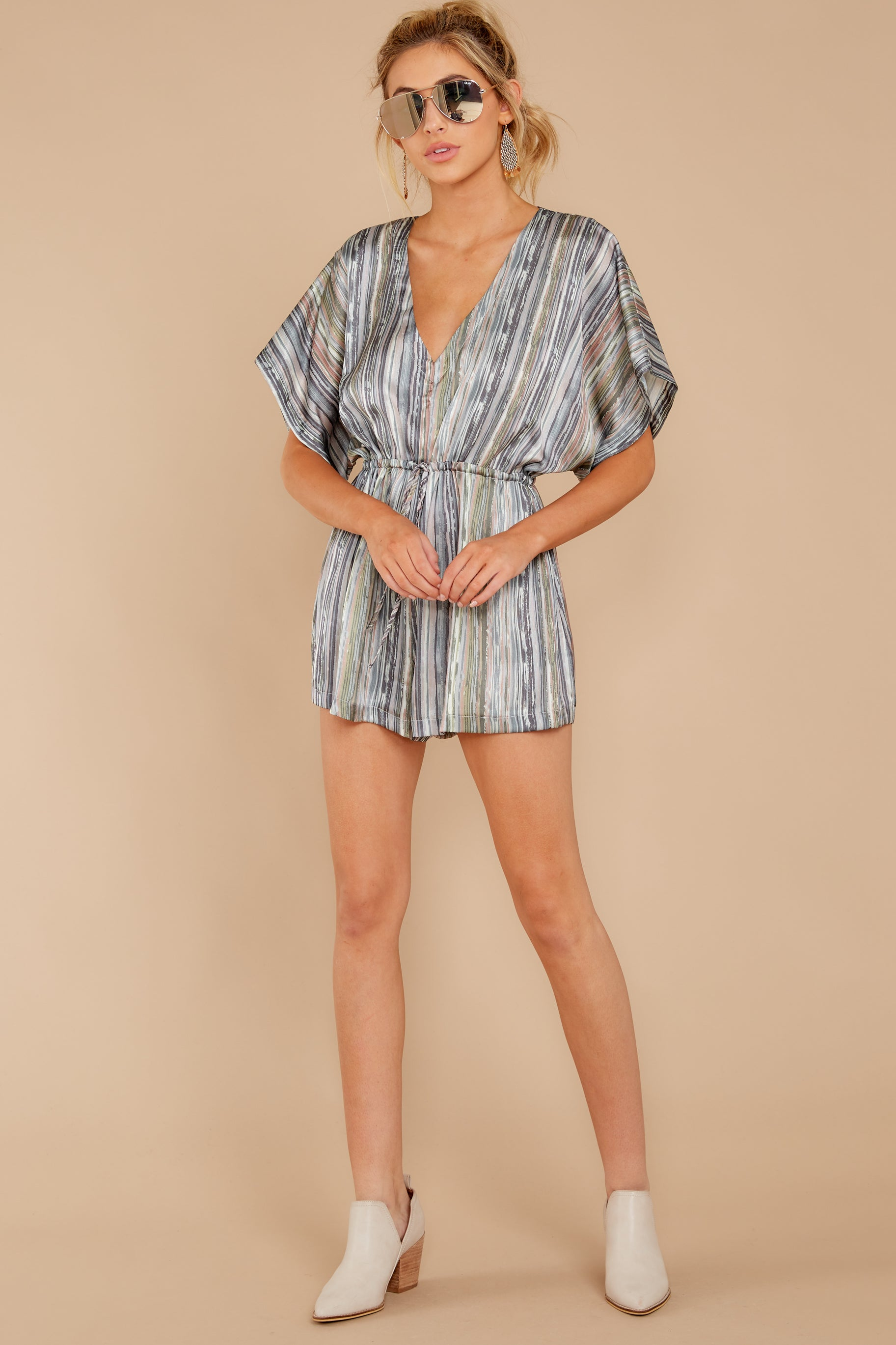 Savor This Moment Olive Green Multi Print Romper