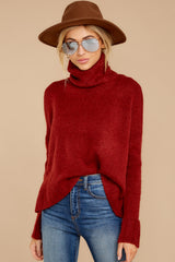 2 Say Anything Brick Red Turtleneck Sweater at reddress.com
