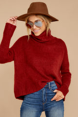 3 Say Anything Brick Red Turtleneck Sweater at reddress.com