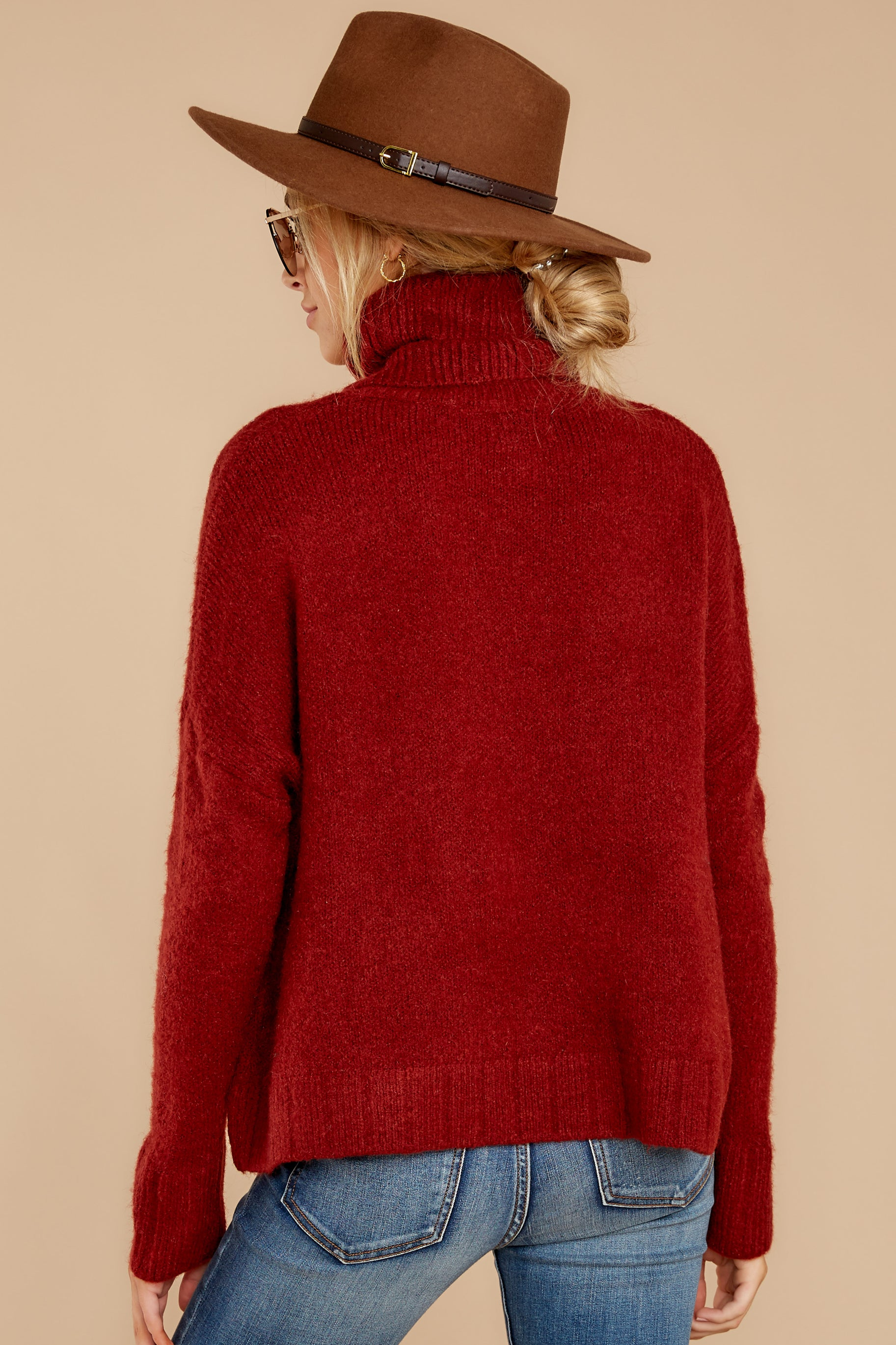4 Say Anything Brick Red Turtleneck Sweater at reddress.com