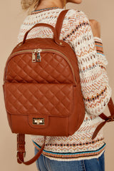 1 Go Where I Want Cognac Brown Backpack at reddressboutique.com