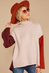5 While You're Here Beige Multi Cowl Neck Sweater at reddressboutique.com