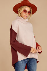 6 While You're Here Beige Multi Cowl Neck Sweater at reddressboutique.com