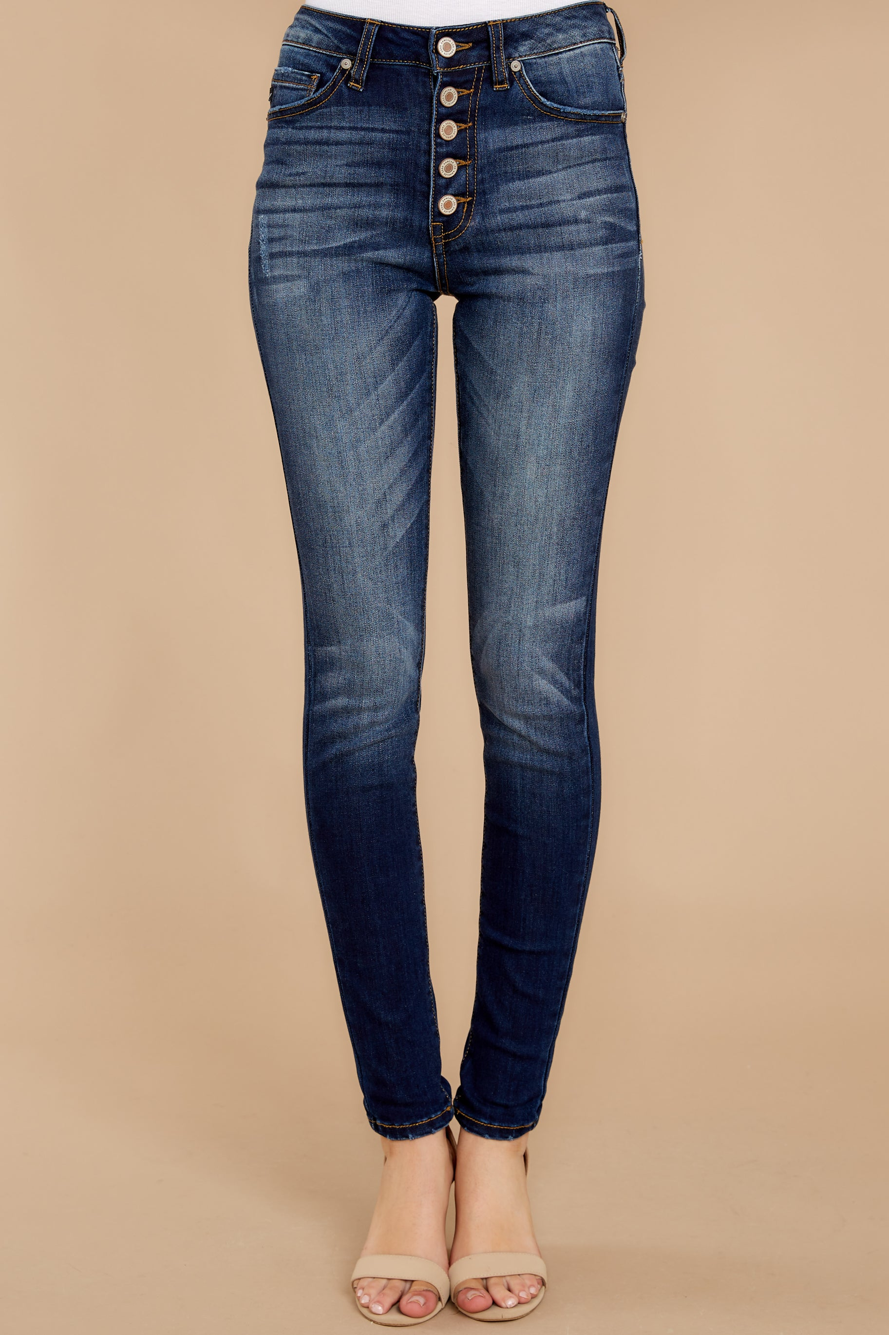 2 Rule The World Dark Wash Skinny Jeans at reddressboutique.com