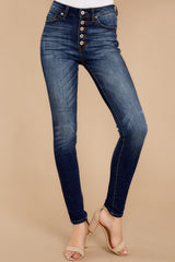 1 Rule The World Dark Wash Skinny Jeans at reddressboutique.com