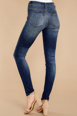 3 Rule The World Dark Wash Skinny Jeans at reddressboutique.com