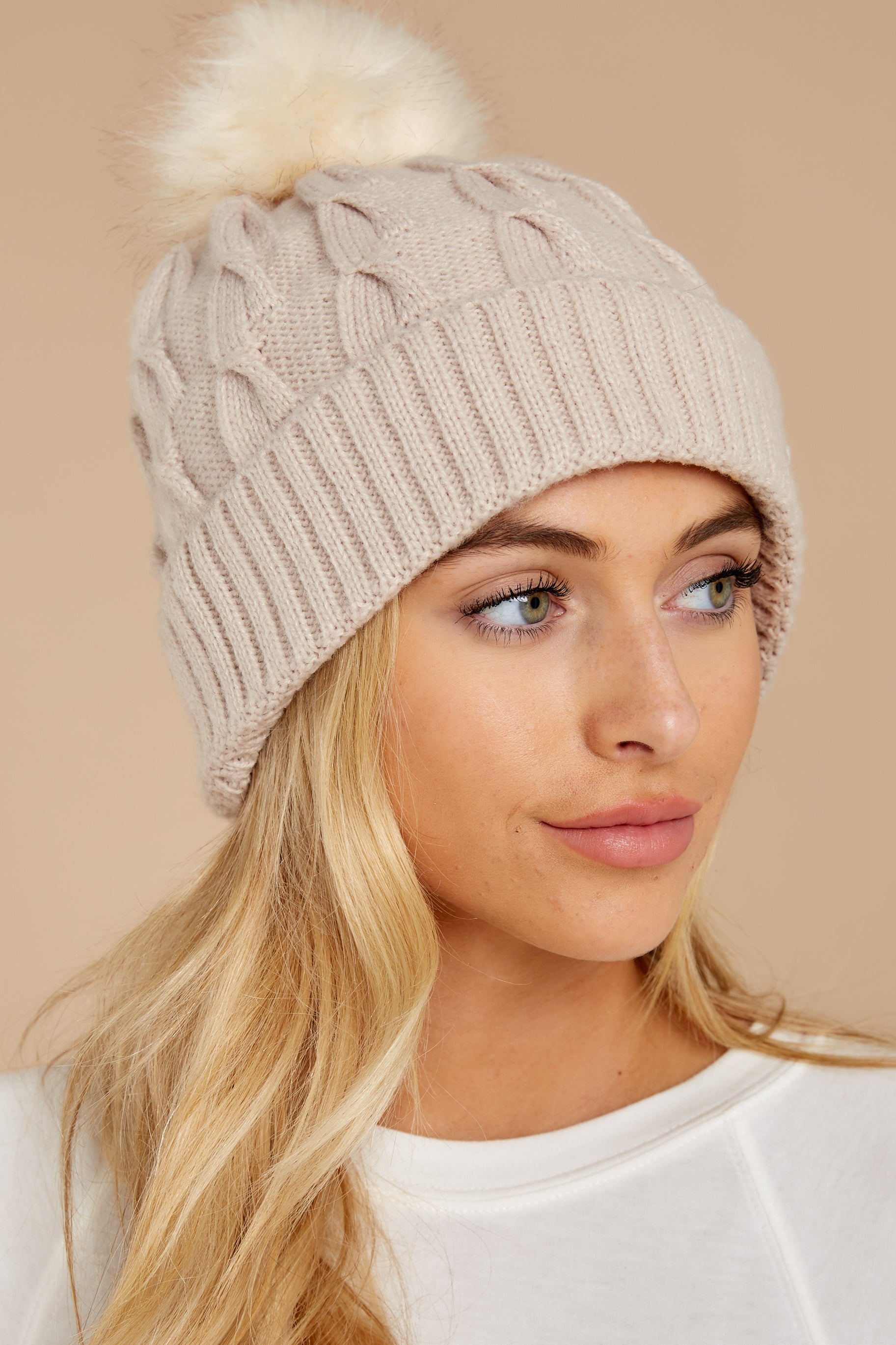 Chill Of The Night Beige Pom Beanie