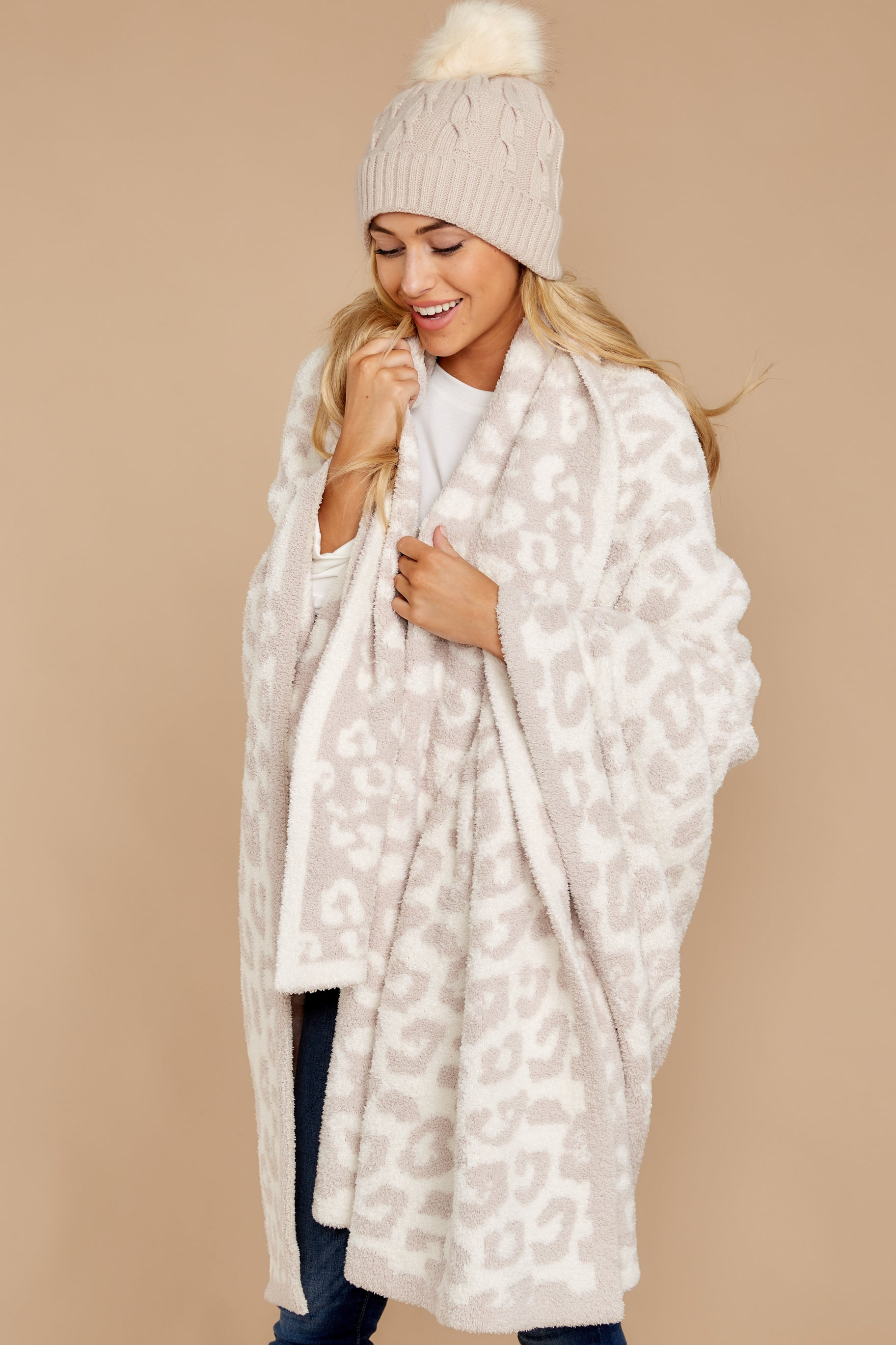 1 CozyChic® Cream Barefoot In The Wild Throw at reddressboutique.com