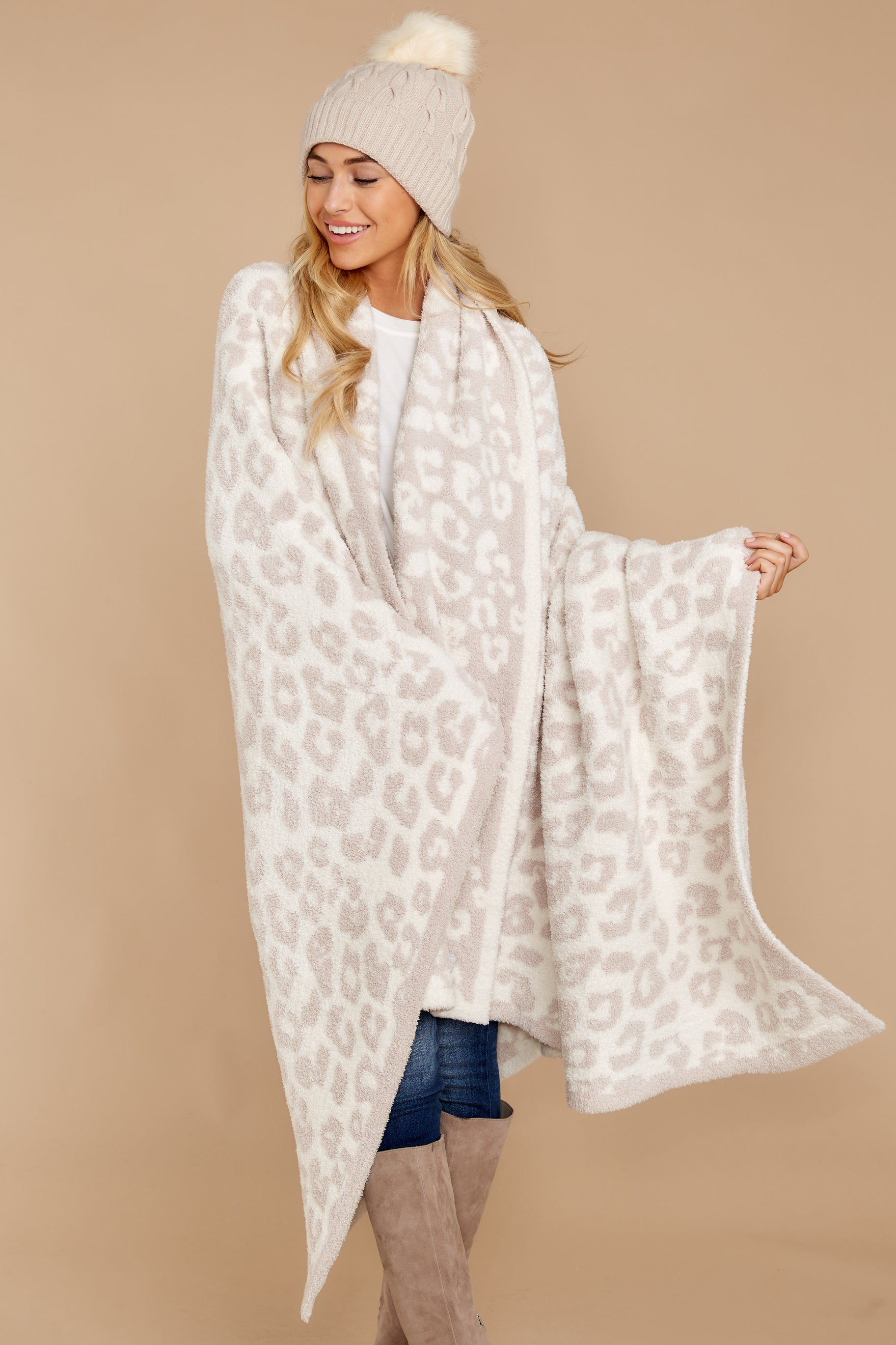 2 CozyChic® Cream Barefoot In The Wild Throw at reddressboutique.com
