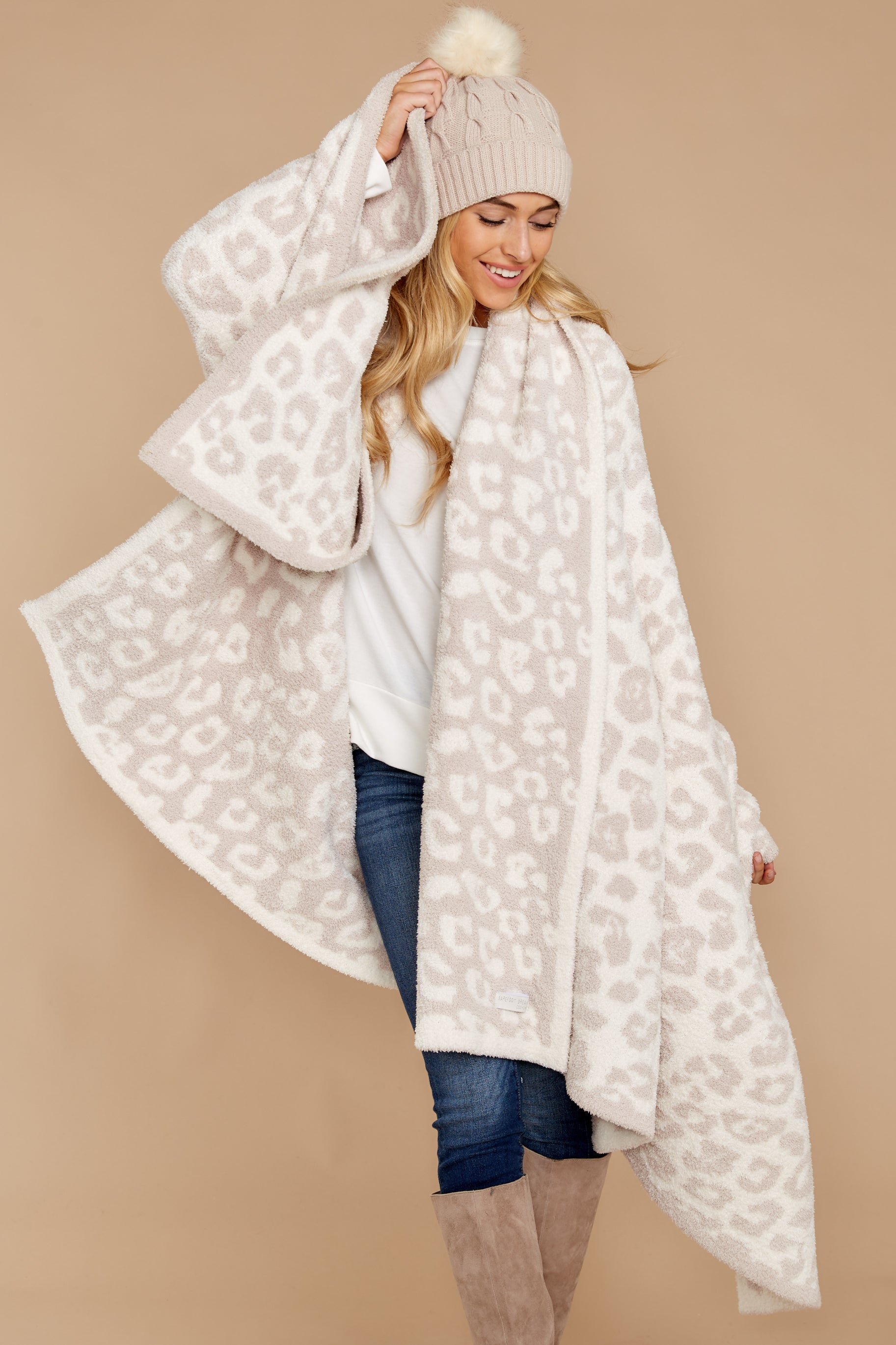 3 CozyChic® Cream Barefoot In The Wild Throw at reddressboutique.com