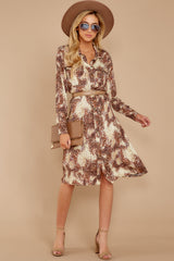 1 Keep Up Mocha Leopard Print Midi Dress at reddressboutique.com