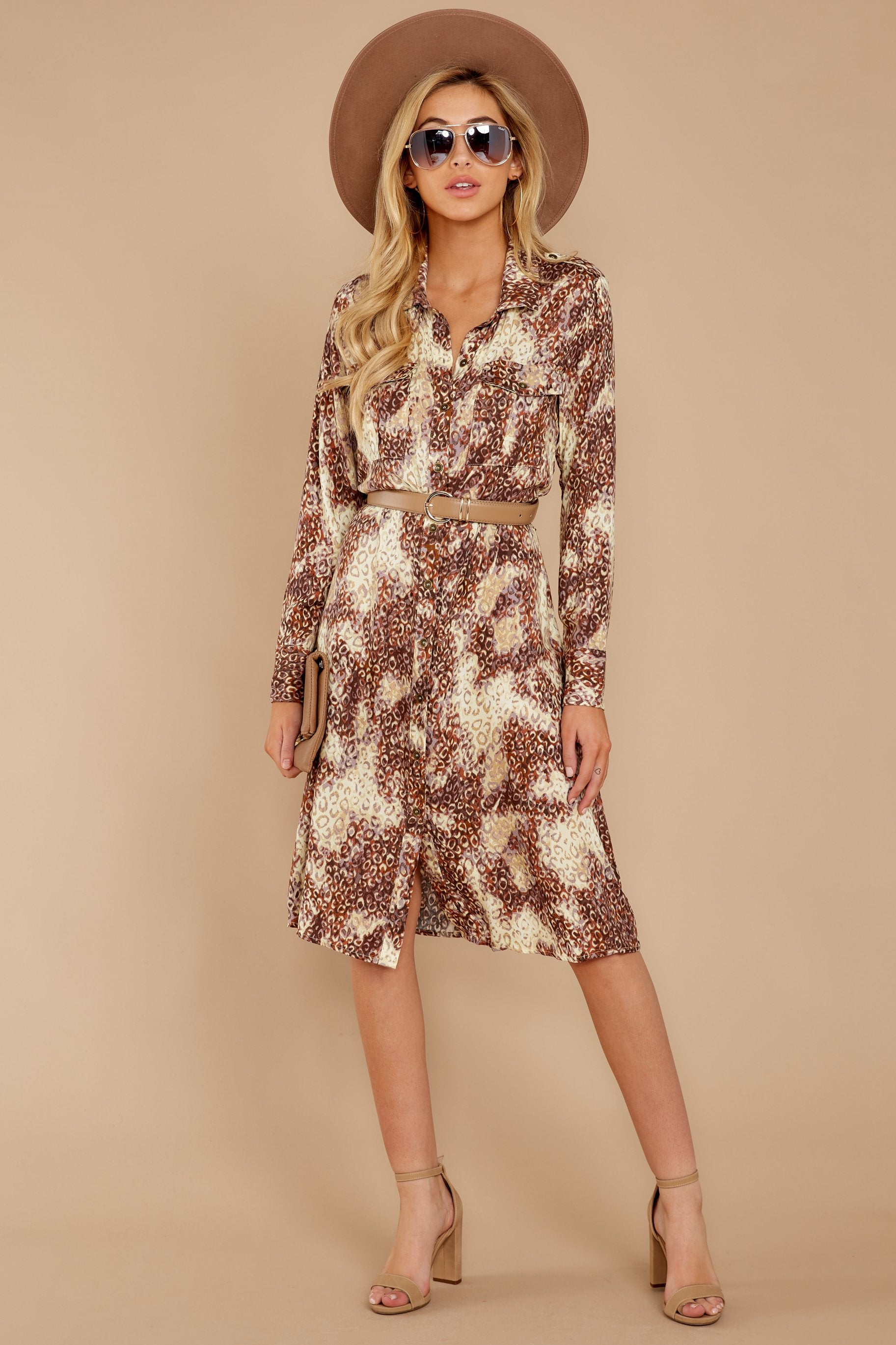 2 Keep Up Mocha Leopard Print Midi Dress at reddressboutique.com