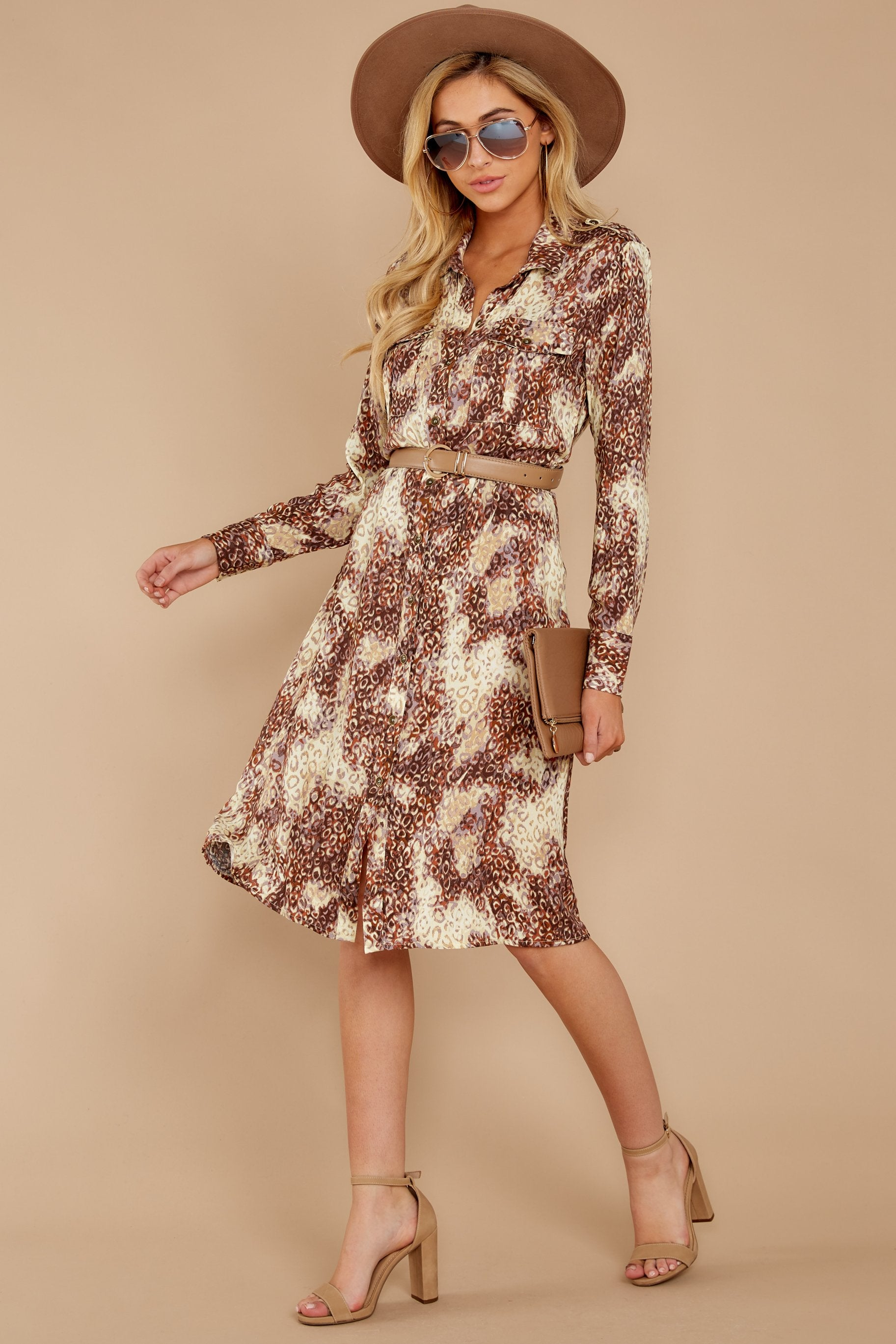 3 Keep Up Mocha Leopard Print Midi Dress at reddressboutique.com