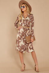 4 Keep Up Mocha Leopard Print Midi Dress at reddressboutique.com