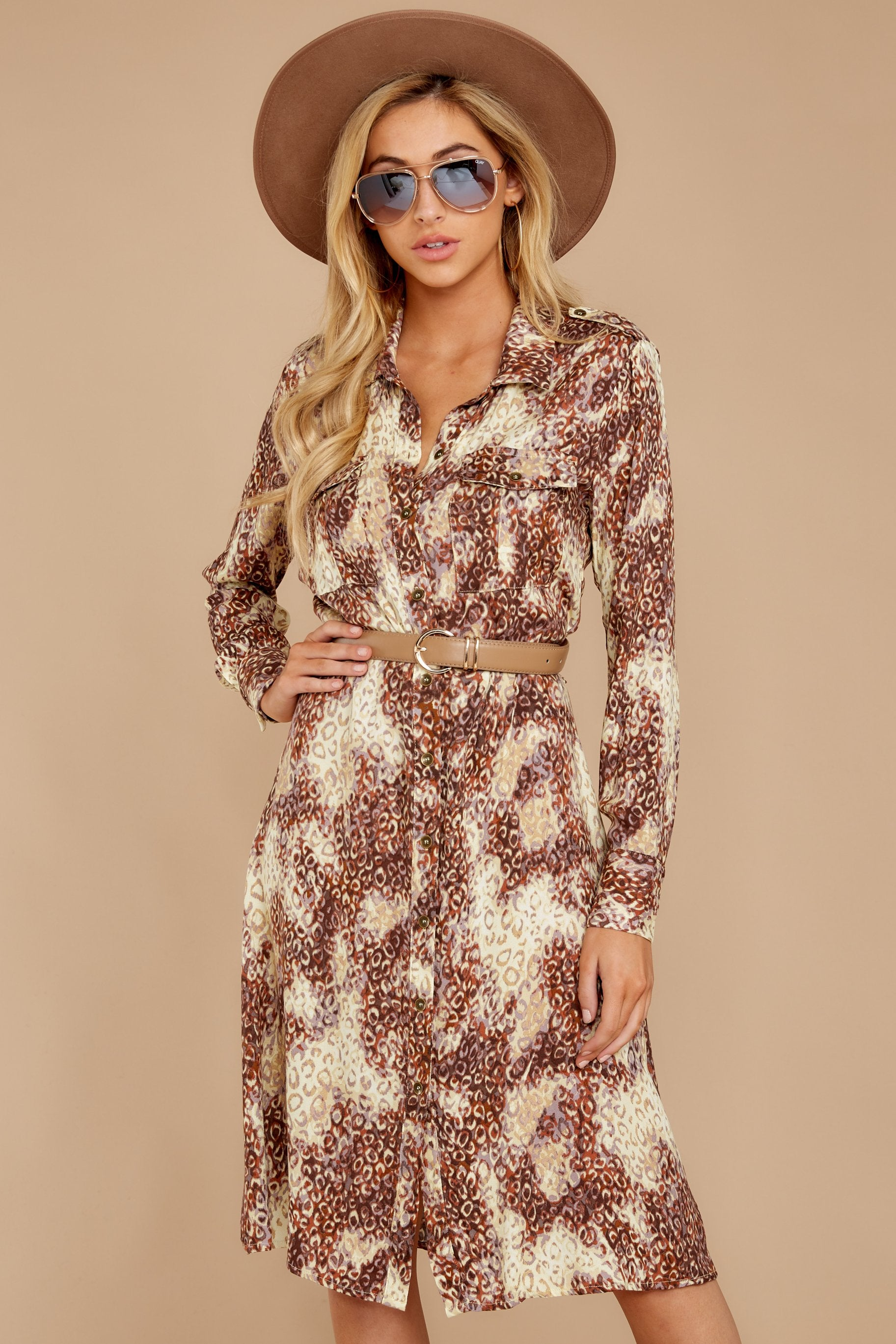 5 Keep Up Mocha Leopard Print Midi Dress at reddressboutique.com