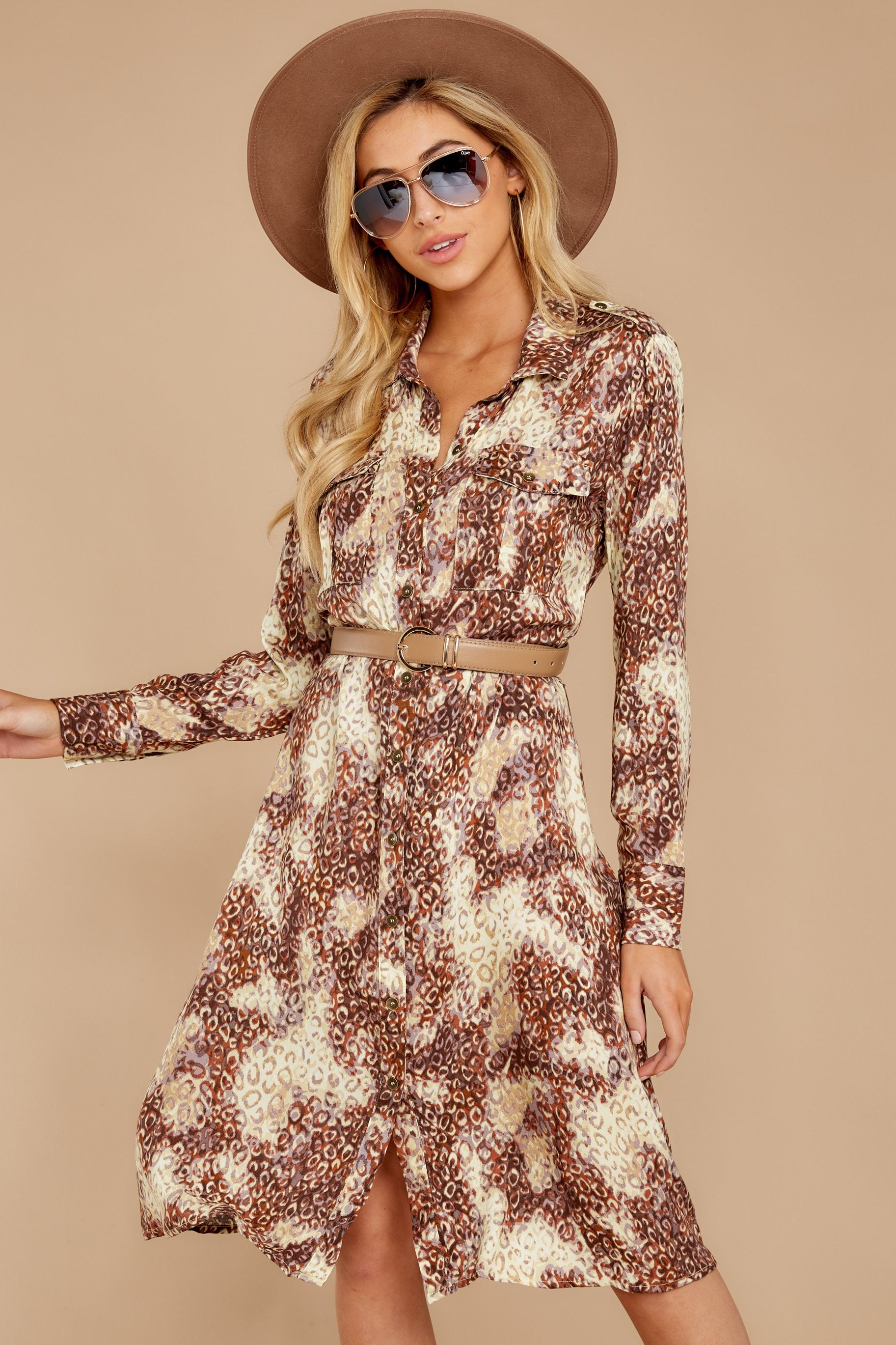 6 Keep Up Mocha Leopard Print Midi Dress at reddressboutique.com