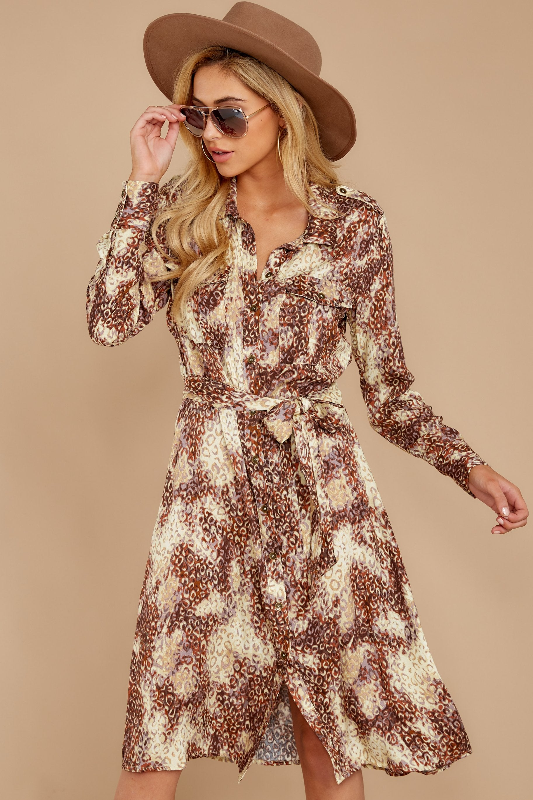 7 Keep Up Mocha Leopard Print Midi Dress at reddressboutique.com