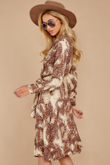 8 Keep Up Mocha Leopard Print Midi Dress at reddressboutique.com