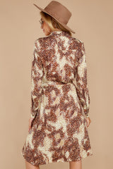 9 Keep Up Mocha Leopard Print Midi Dress at reddressboutique.com